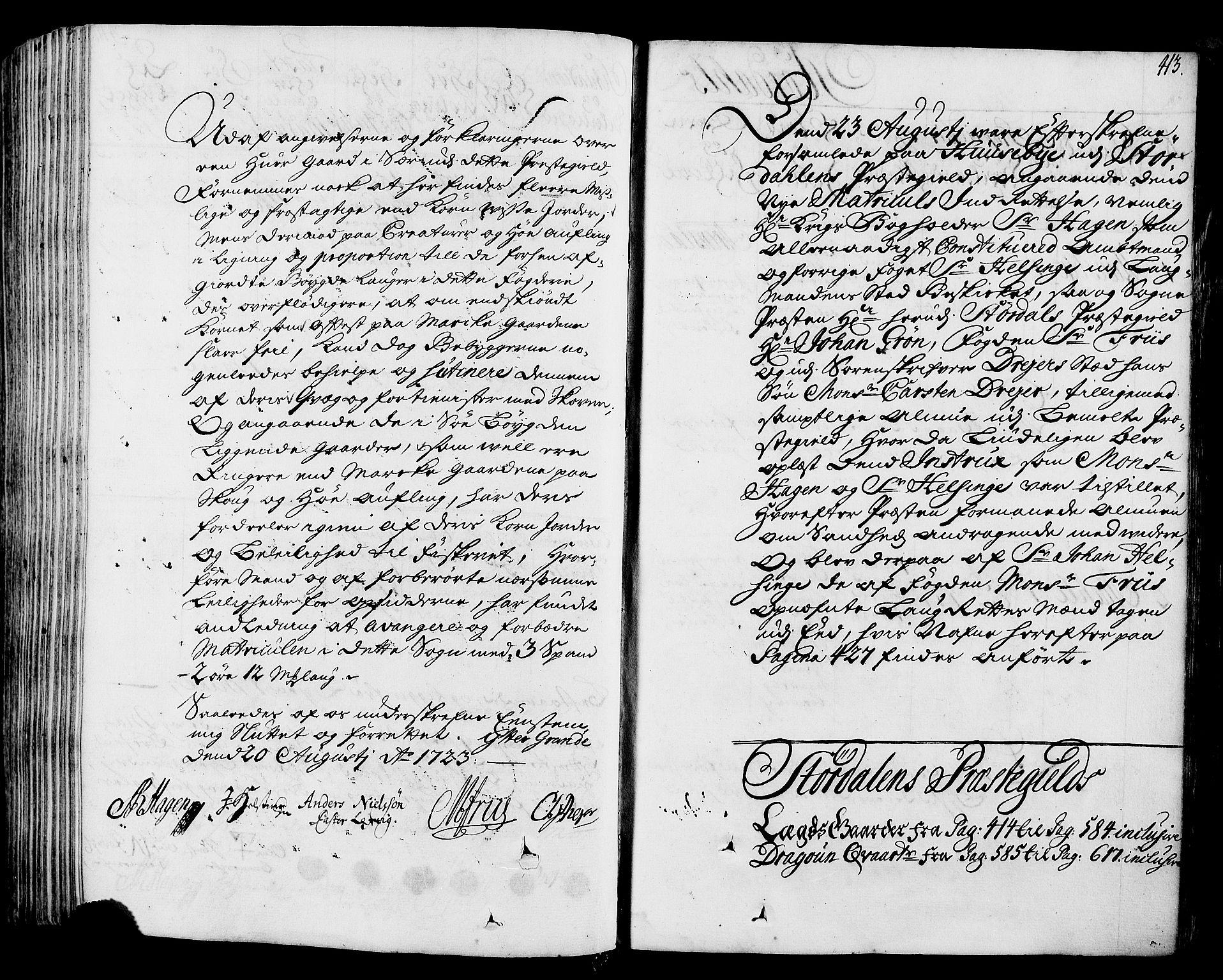 RA, Rentekammeret inntil 1814, Realistisk ordnet avdeling, N/Nb/Nbf/L0164: Stjørdal og Verdal eksaminasjonsprotokoll, 1723, s. 412b-413a