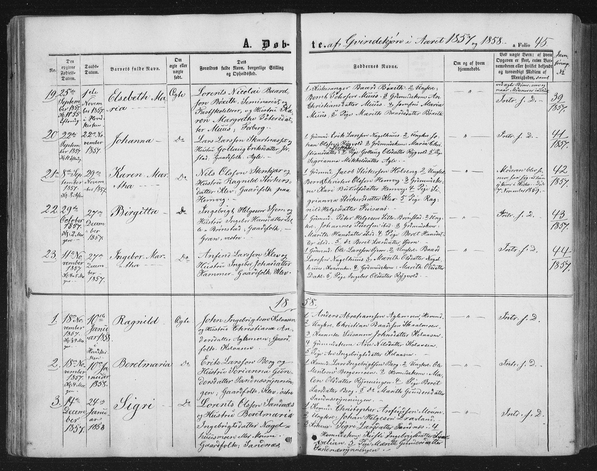 SAT, Ministerialprotokoller, klokkerbøker og fødselsregistre - Nord-Trøndelag, 749/L0472: Ministerialbok nr. 749A06, 1857-1873, s. 45