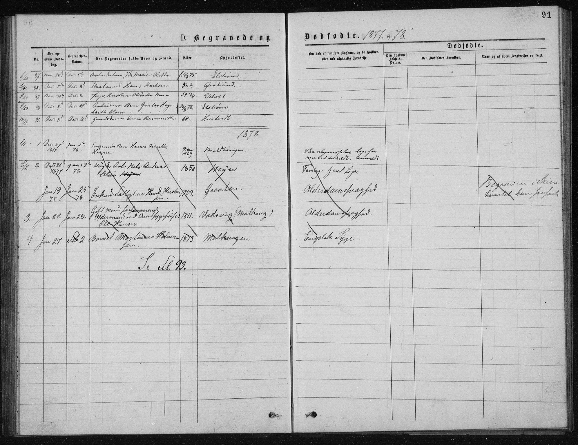 SAKO, Solum kirkebøker, G/Ga/L0005: Klokkerbok nr. I 5, 1877-1881, s. 91