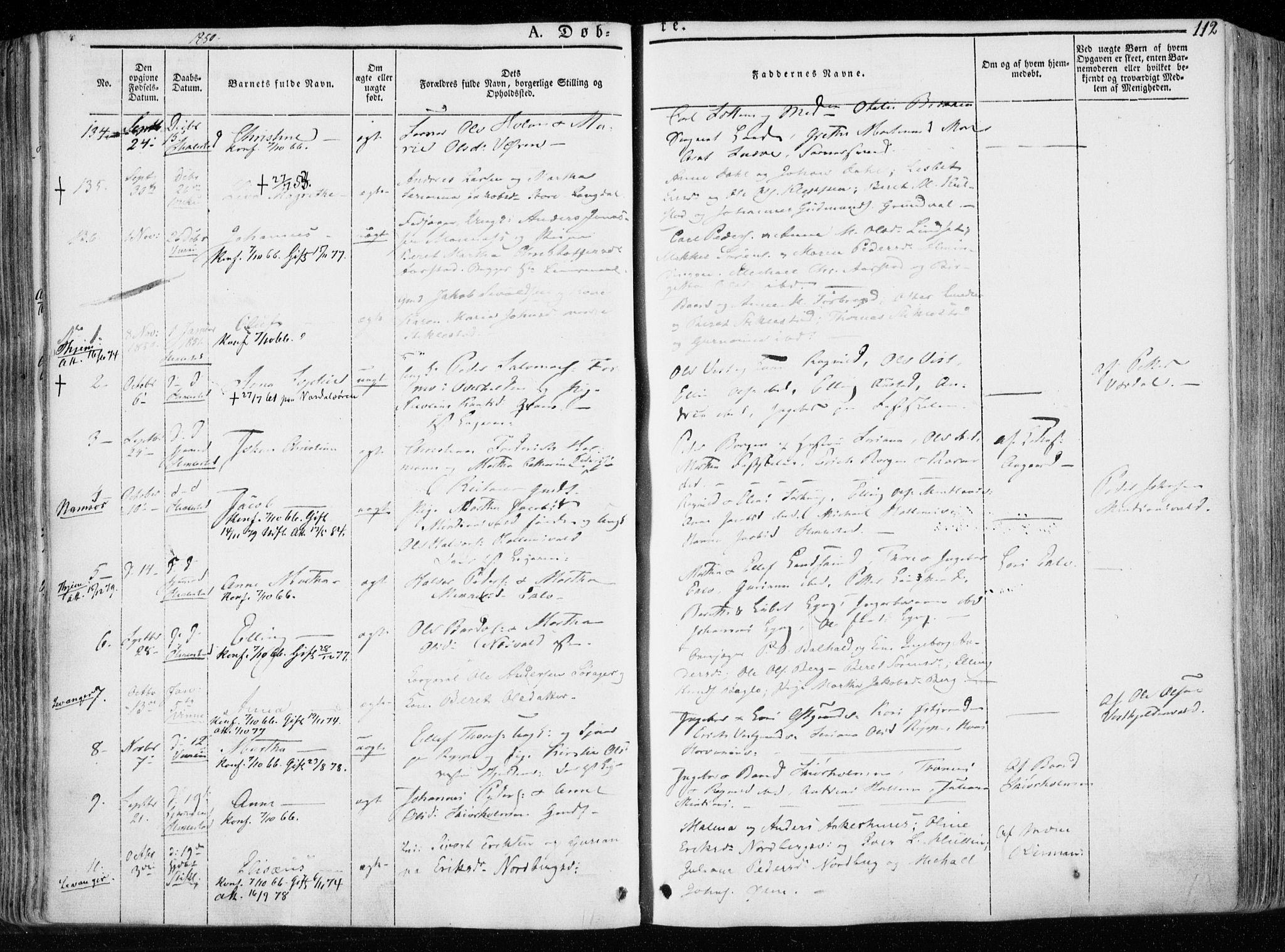 SAT, Ministerialprotokoller, klokkerbøker og fødselsregistre - Nord-Trøndelag, 723/L0239: Ministerialbok nr. 723A08, 1841-1851, s. 112