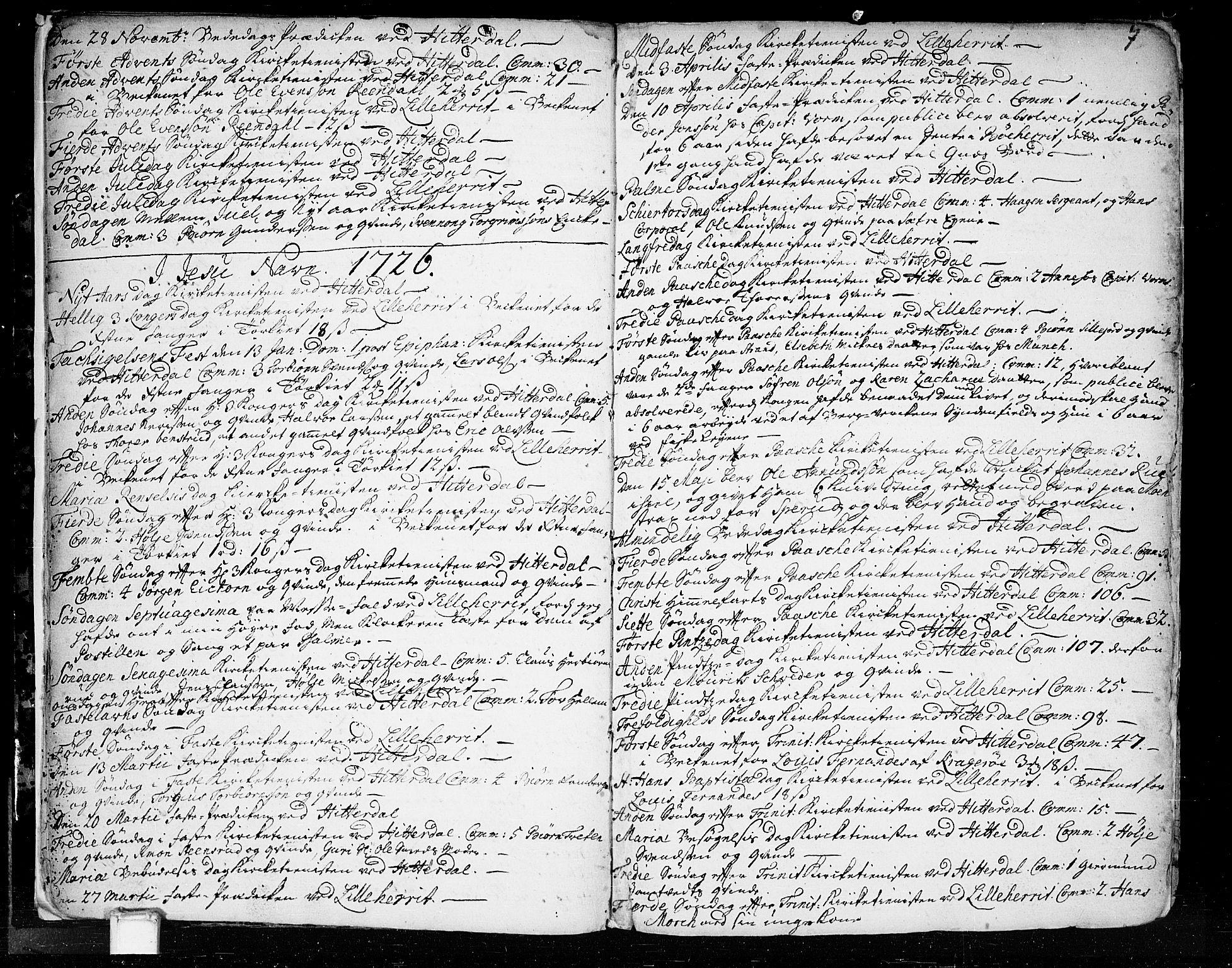 SAKO, Heddal kirkebøker, F/Fa/L0003: Ministerialbok nr. I 3, 1723-1783, s. 7