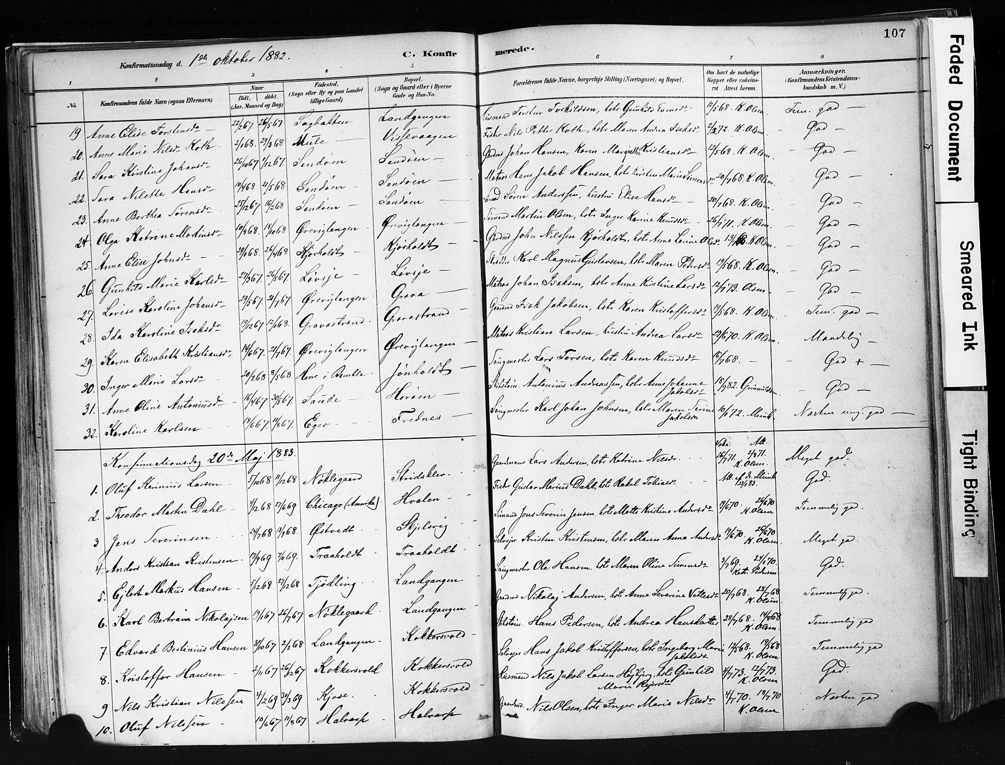 SAKO, Eidanger kirkebøker, F/Fa/L0012: Ministerialbok nr. 12, 1879-1900, s. 107