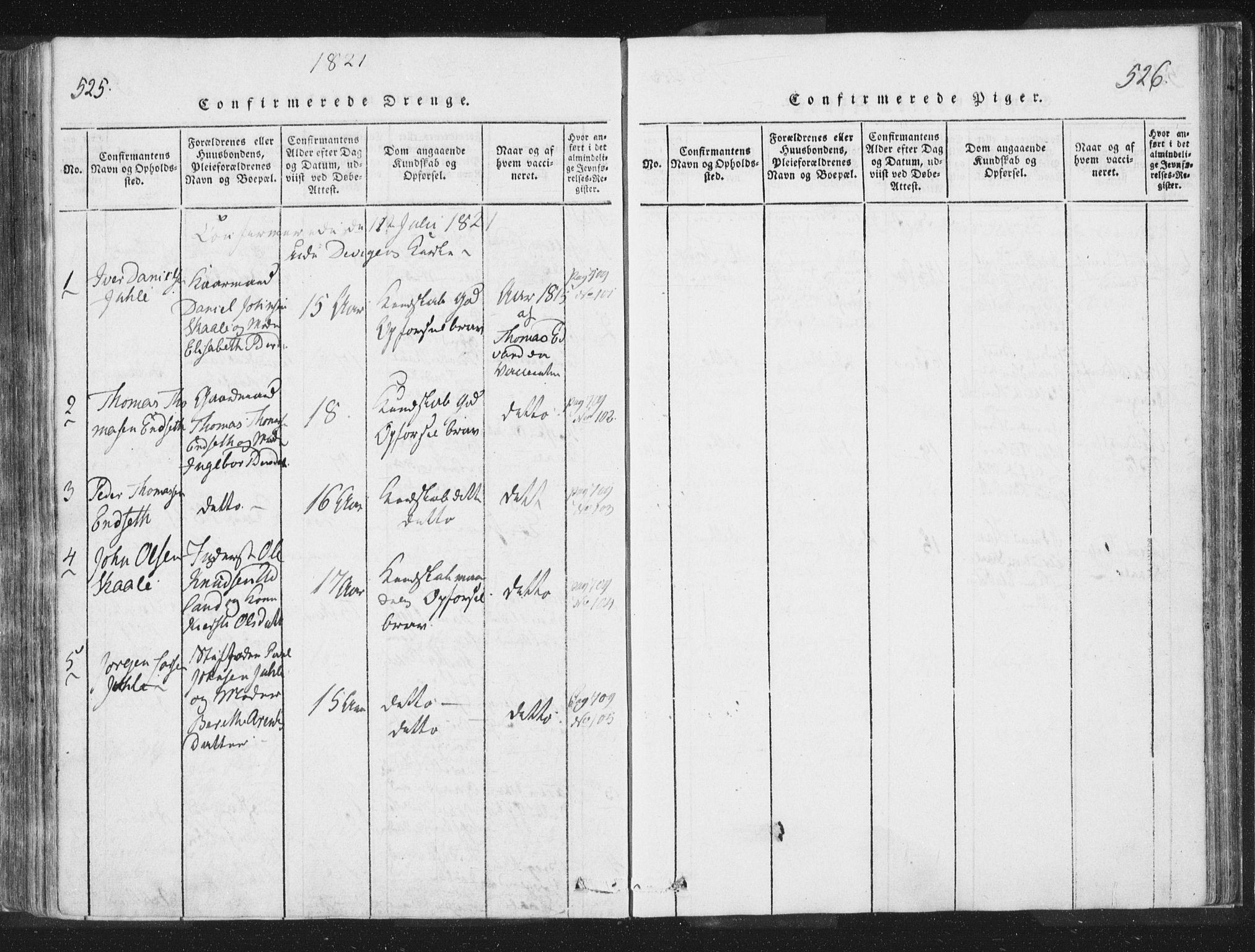 SAT, Ministerialprotokoller, klokkerbøker og fødselsregistre - Nord-Trøndelag, 755/L0491: Ministerialbok nr. 755A01 /2, 1817-1864, s. 525-526