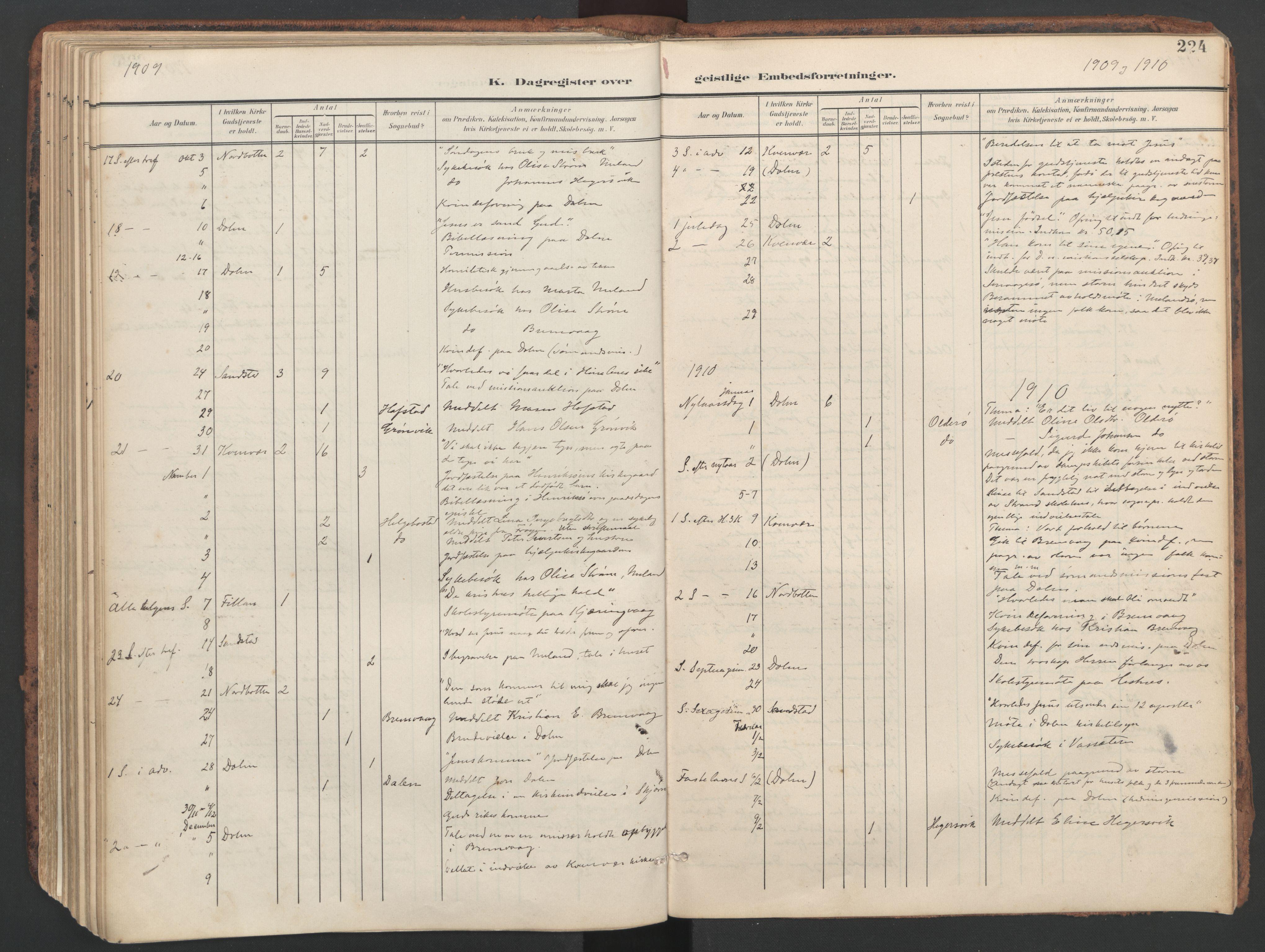 SAT, Ministerialprotokoller, klokkerbøker og fødselsregistre - Sør-Trøndelag, 634/L0537: Ministerialbok nr. 634A13, 1896-1922, s. 224