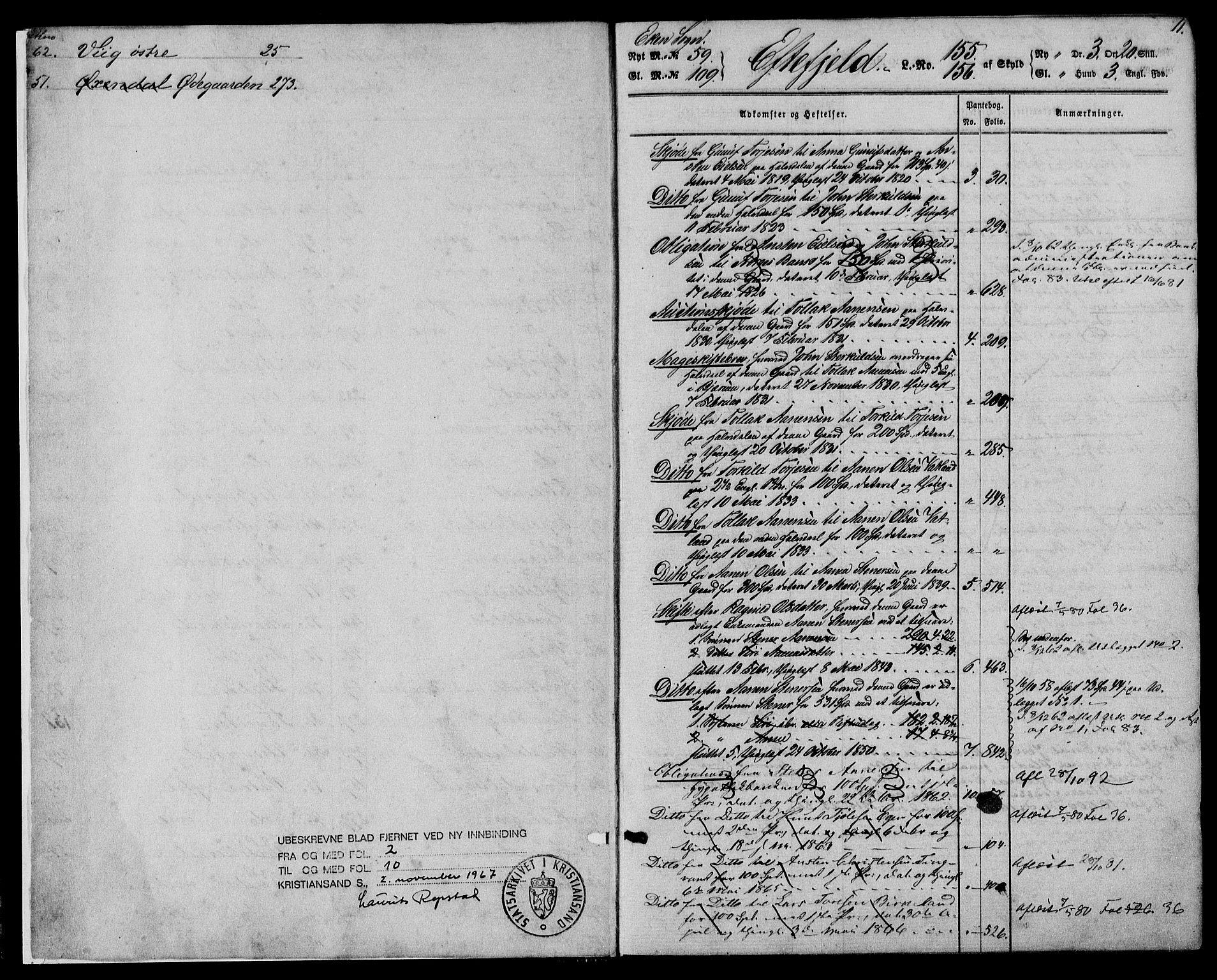 SAK, Lyngdal sorenskriveri, G/Ga/L0584: Panteregister nr. 17, 1805-1929, s. 11