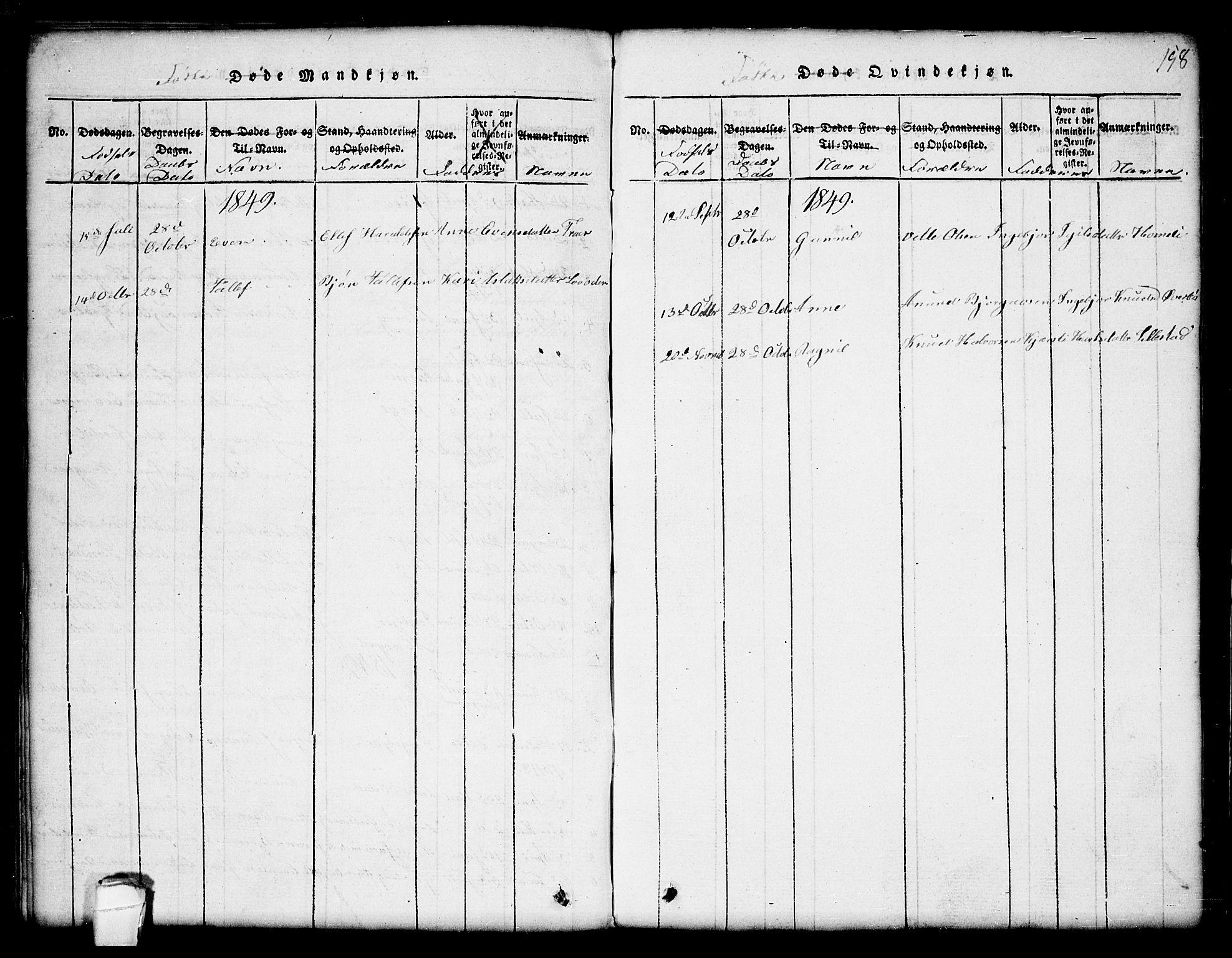 SAKO, Seljord kirkebøker, G/Gc/L0001: Klokkerbok nr. III 1, 1815-1849, s. 158