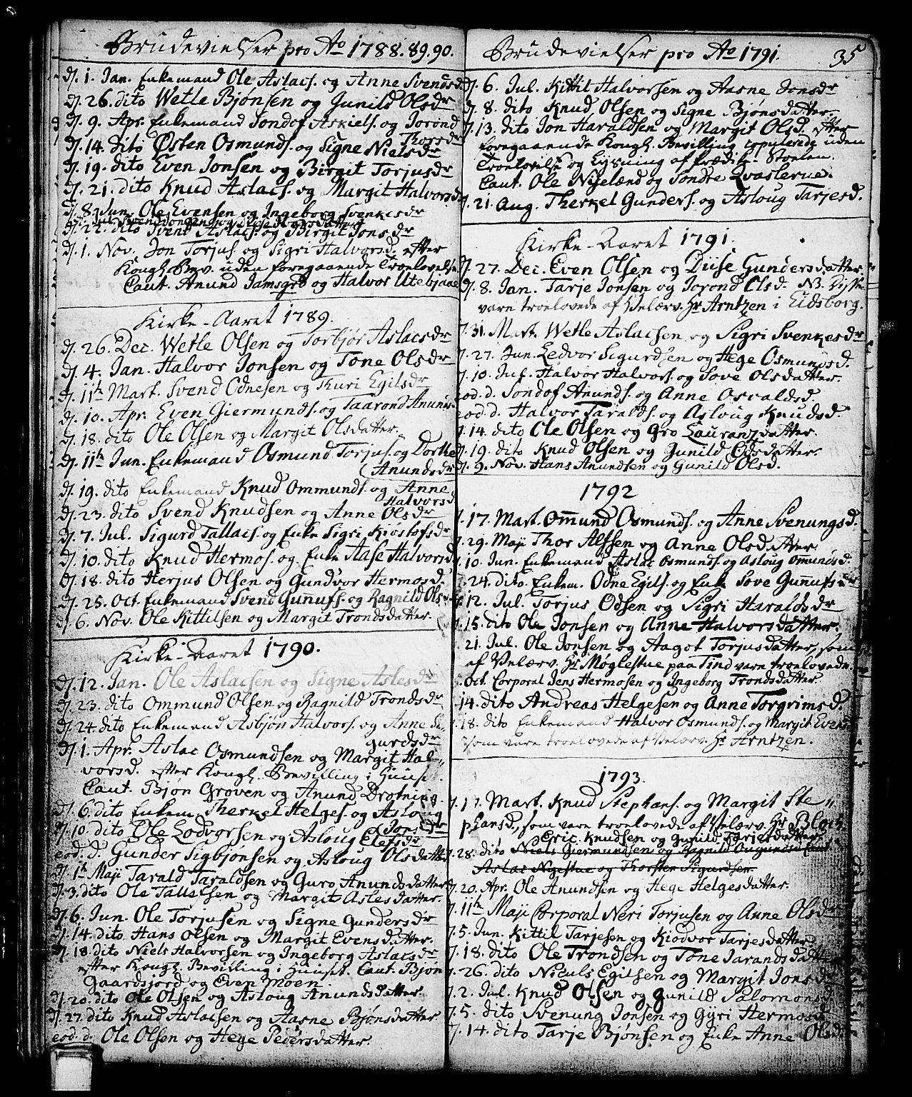 SAKO, Vinje kirkebøker, F/Fa/L0002: Ministerialbok nr. I 2, 1767-1814, s. 35