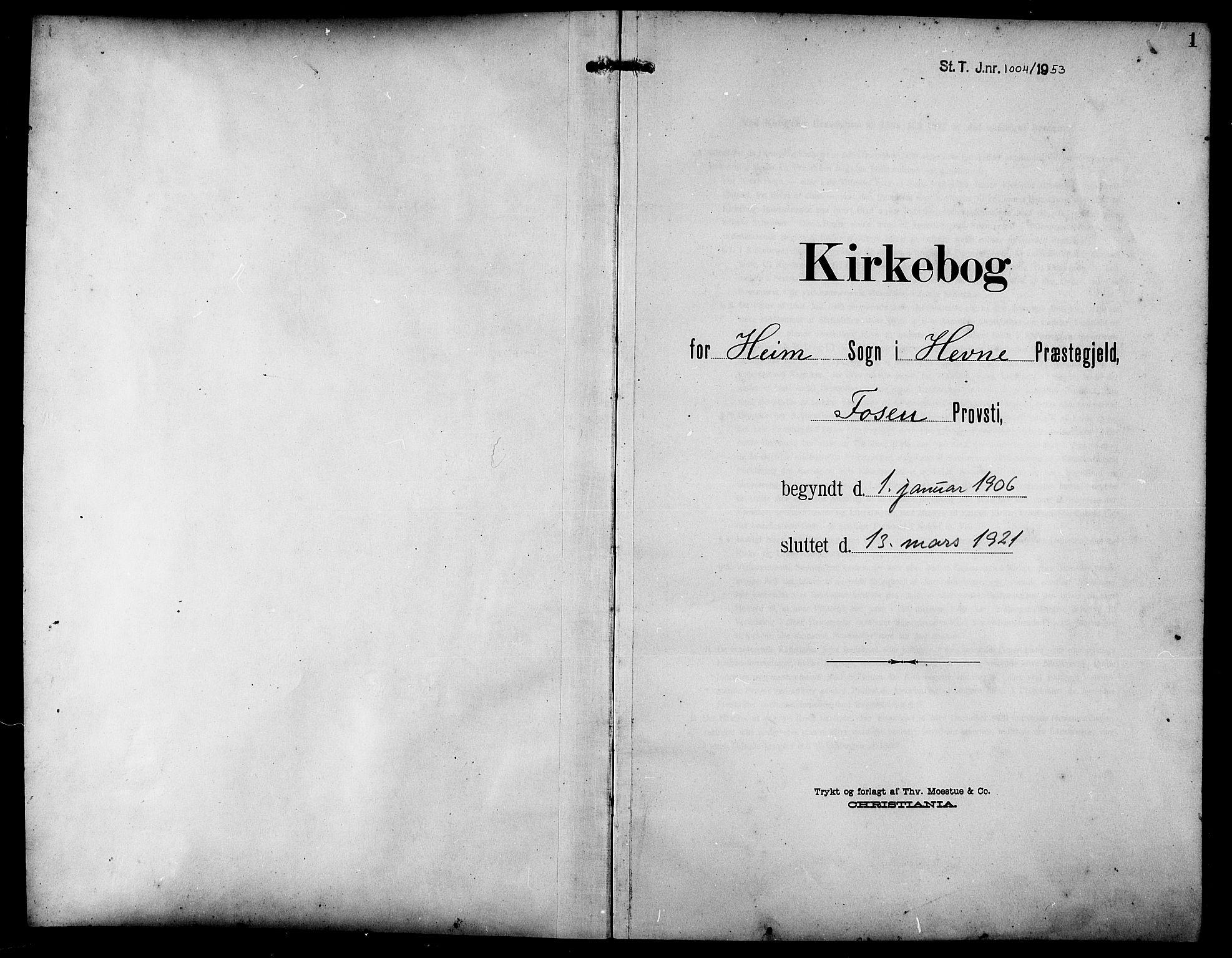 SAT, Ministerialprotokoller, klokkerbøker og fødselsregistre - Sør-Trøndelag, 633/L0520: Klokkerbok nr. 633C02, 1906-1921, s. 1