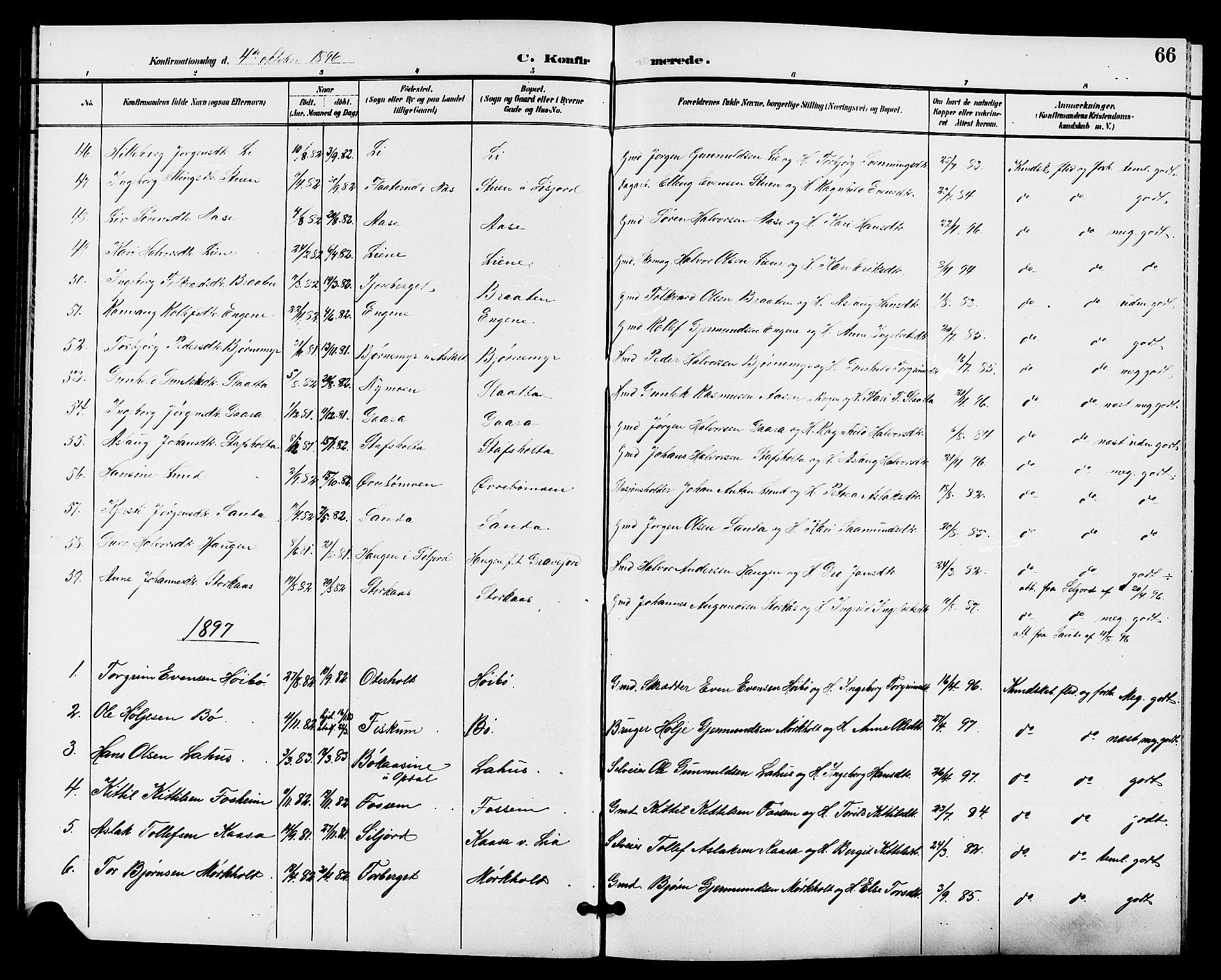 SAKO, Bø kirkebøker, G/Ga/L0006: Klokkerbok nr. 6, 1898-1909, s. 66
