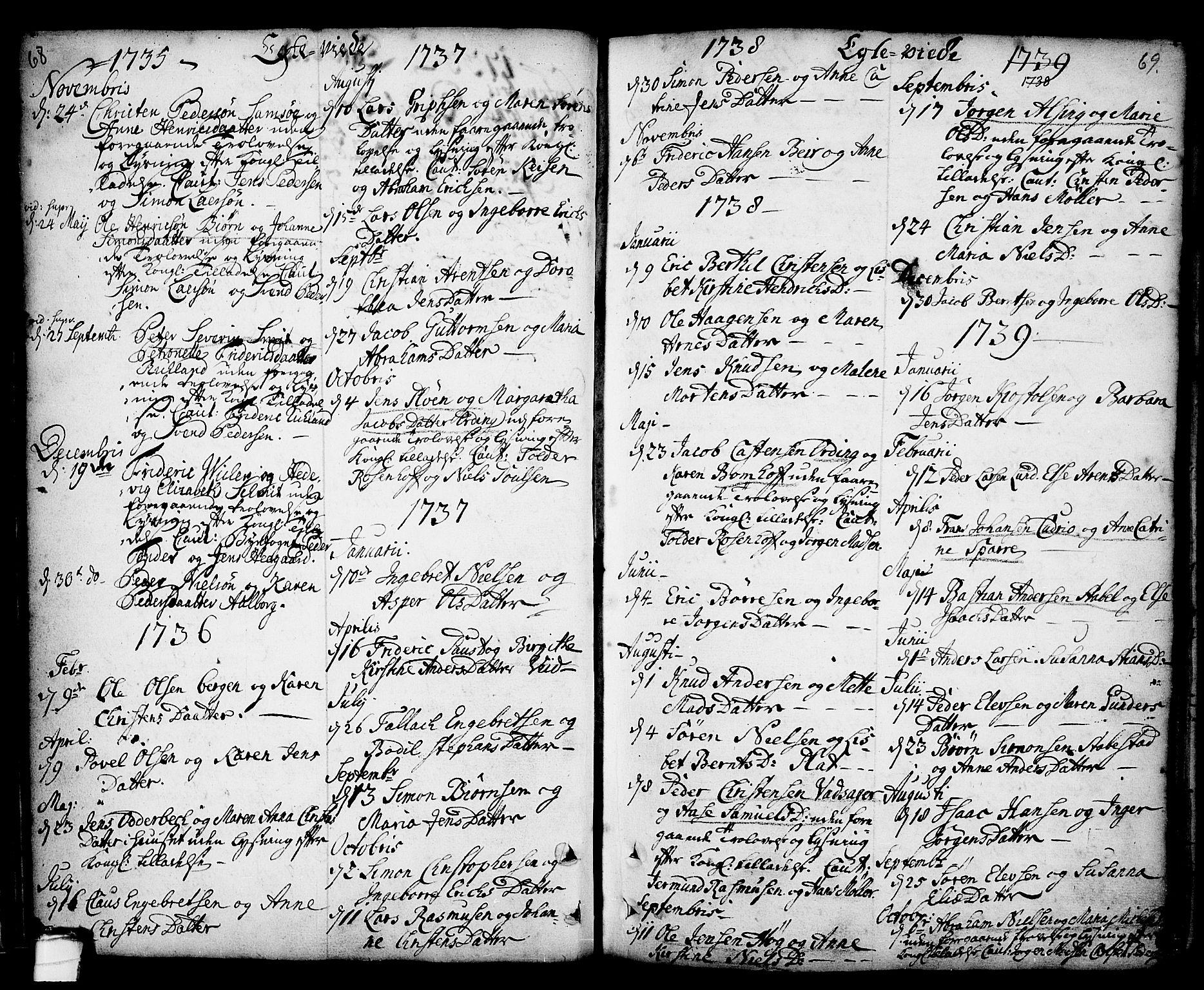 SAKO, Kragerø kirkebøker, F/Fa/L0001: Ministerialbok nr. 1, 1702-1766, s. 68-69