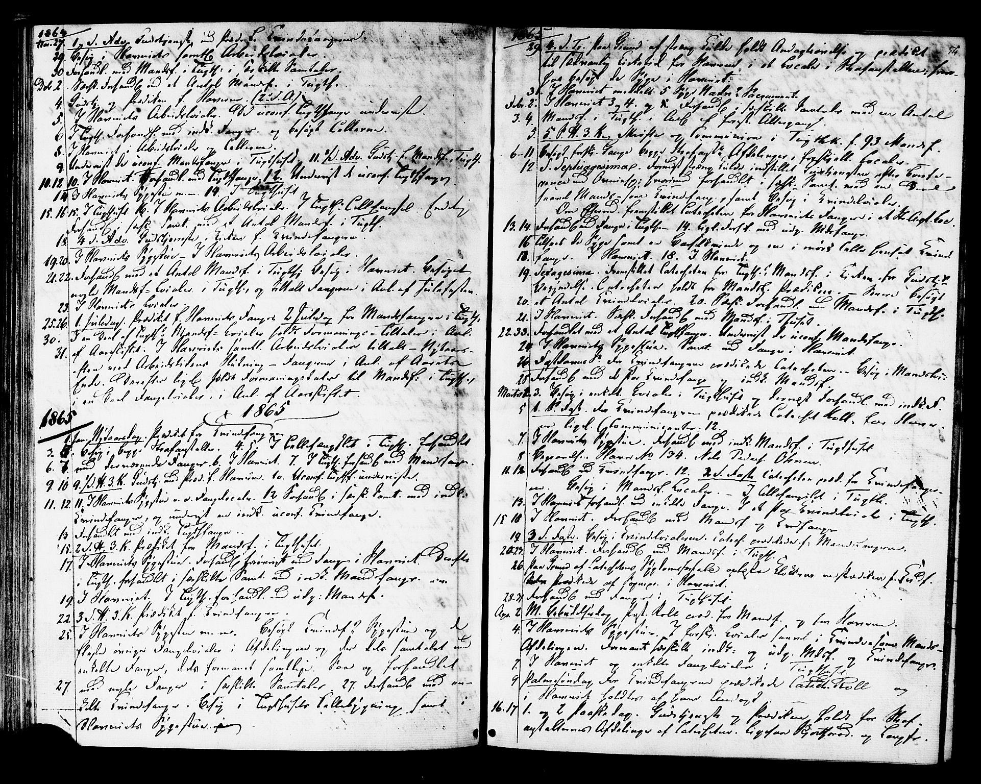 SAT, Ministerialprotokoller, klokkerbøker og fødselsregistre - Sør-Trøndelag, 624/L0481: Ministerialbok nr. 624A02, 1841-1869, s. 54