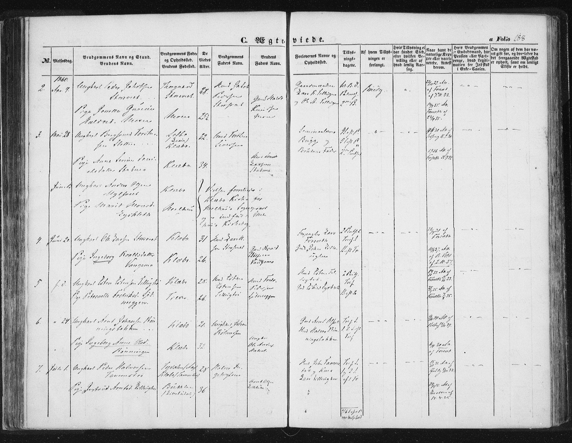 SAT, Ministerialprotokoller, klokkerbøker og fødselsregistre - Sør-Trøndelag, 618/L0441: Ministerialbok nr. 618A05, 1843-1862, s. 188