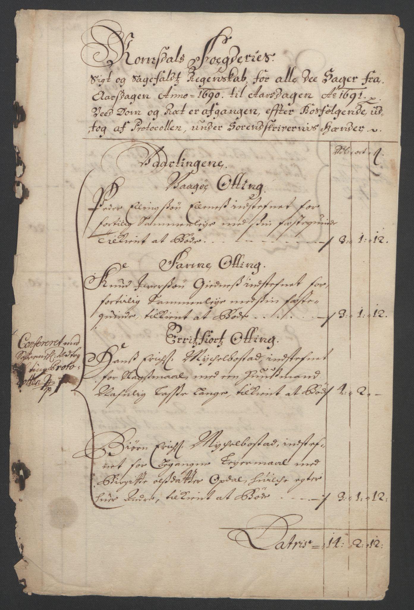 RA, Rentekammeret inntil 1814, Reviderte regnskaper, Fogderegnskap, R55/L3649: Fogderegnskap Romsdal, 1690-1691, s. 153