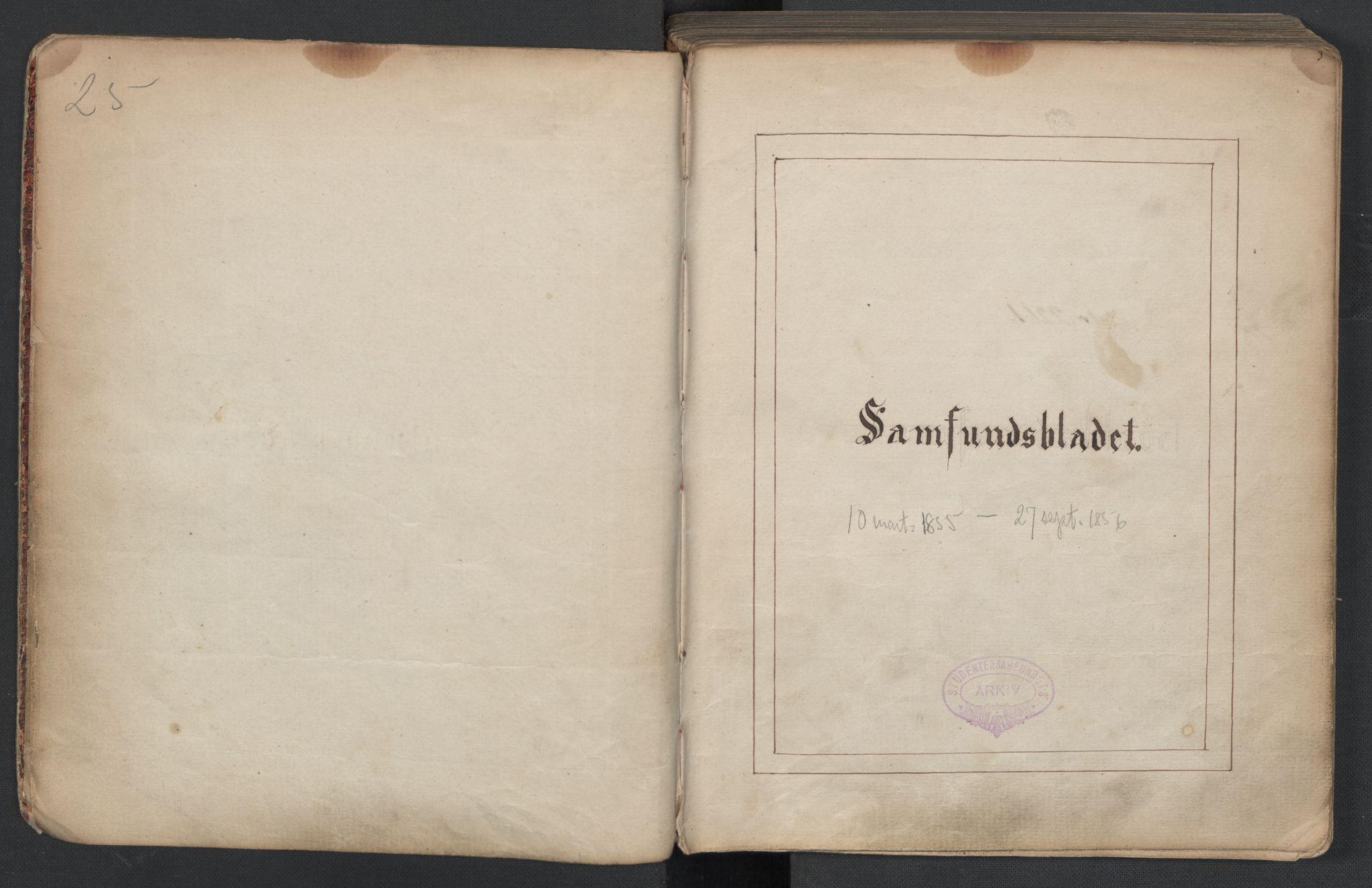 RA, Det Norske Studentersamfund, X/Xa/L0005, 1855-1856, s. 3