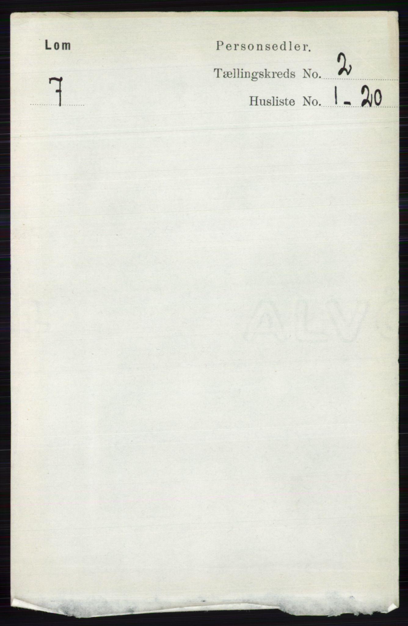 RA, Folketelling 1891 for 0514 Lom herred, 1891, s. 784