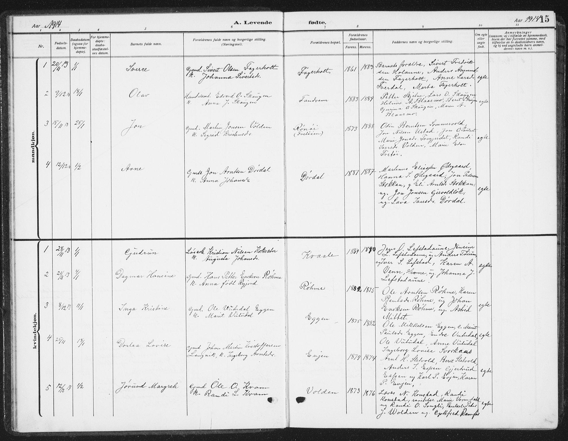 SAT, Ministerialprotokoller, klokkerbøker og fødselsregistre - Sør-Trøndelag, 668/L0820: Klokkerbok nr. 668C09, 1912-1936, s. 15