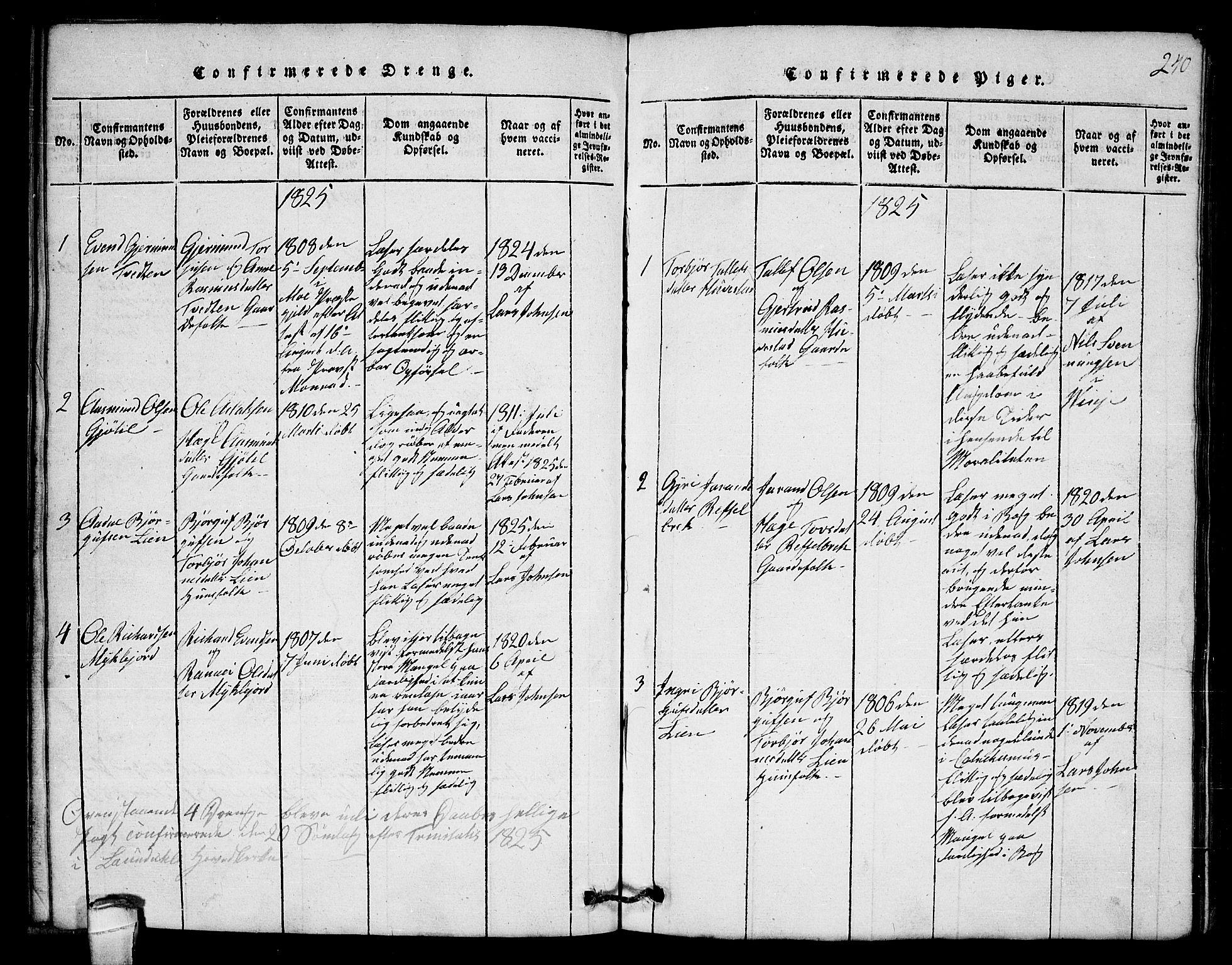 SAKO, Lårdal kirkebøker, G/Gb/L0001: Klokkerbok nr. II 1, 1815-1865, s. 240