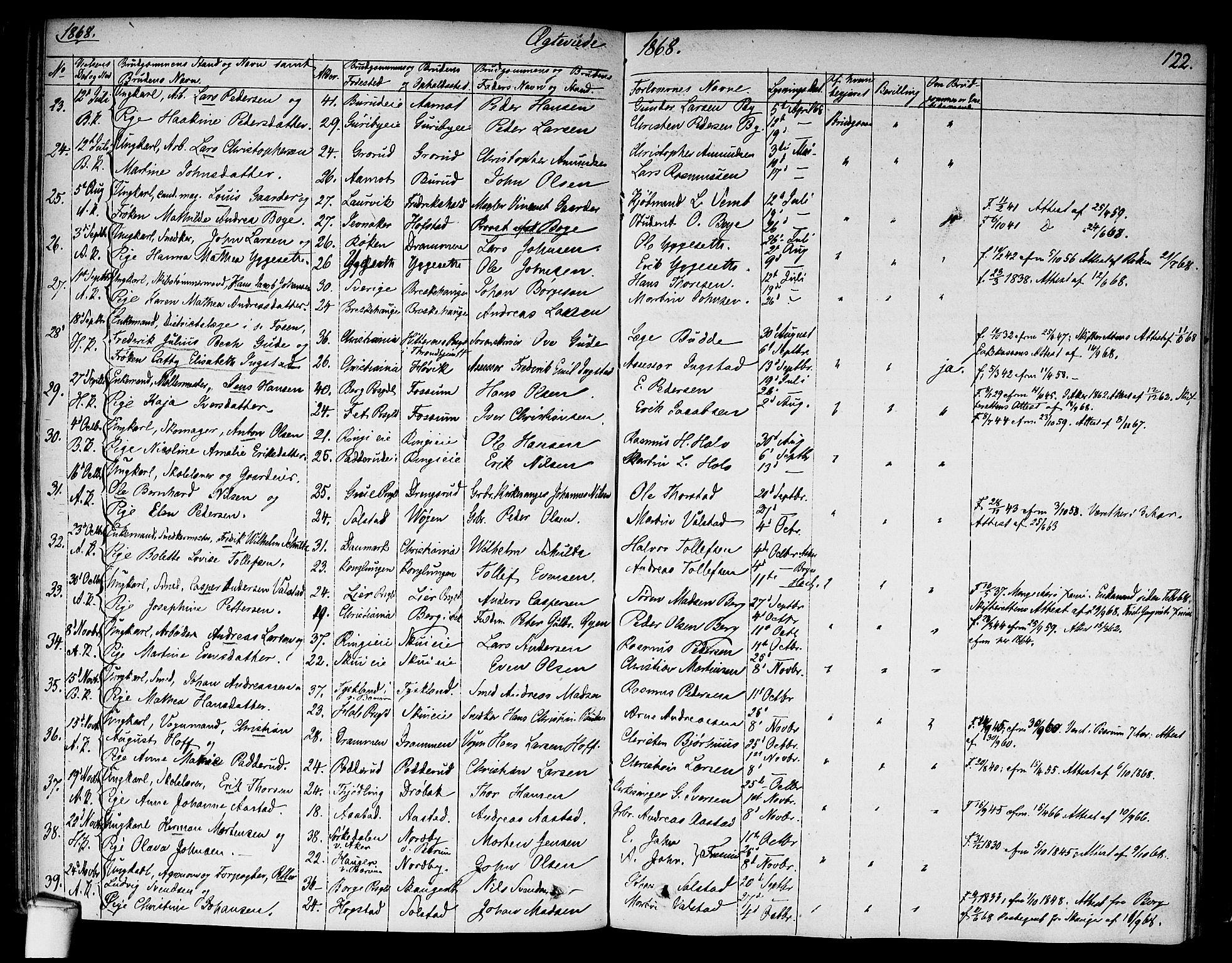 SAO, Asker prestekontor Kirkebøker, F/Fa/L0010: Ministerialbok nr. I 10, 1825-1878, s. 122