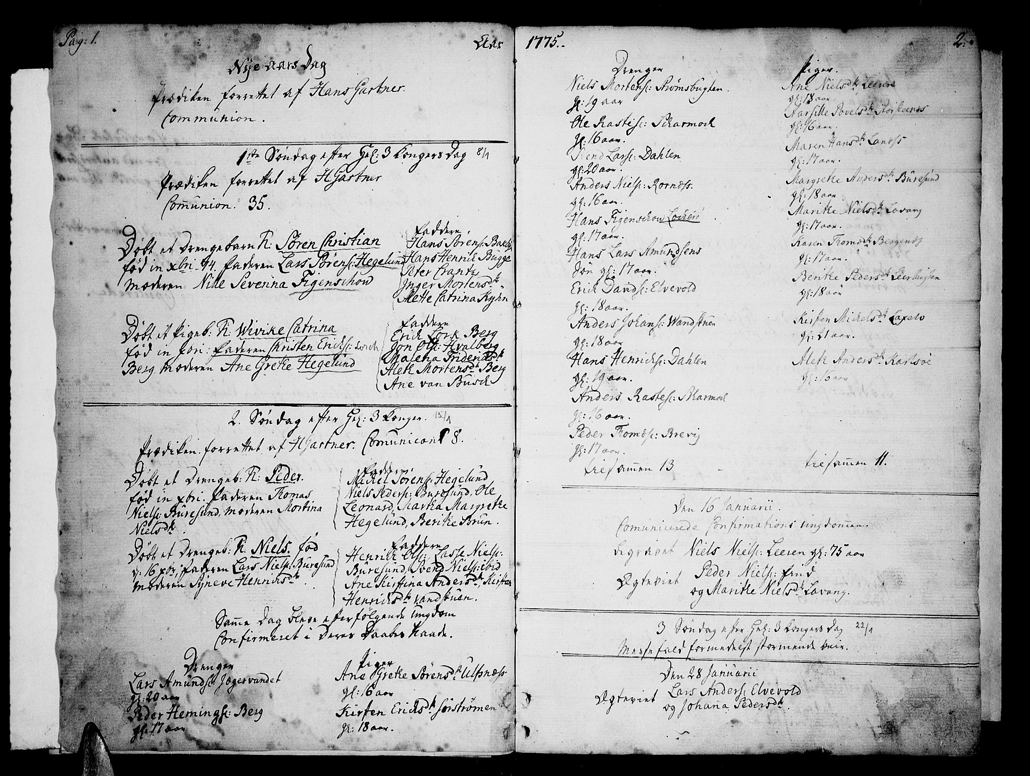 SATØ, Karlsøy sokneprestembete, H/Ha/Haa/L0001kirke: Ministerialbok nr. 1, 1775-1823, s. 1-2