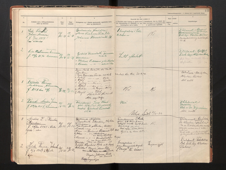 SAB, Lensmannen i Innvik, 0006/L0005: Dødsfallprotokoll, 1921-1932, s. 94b-95a