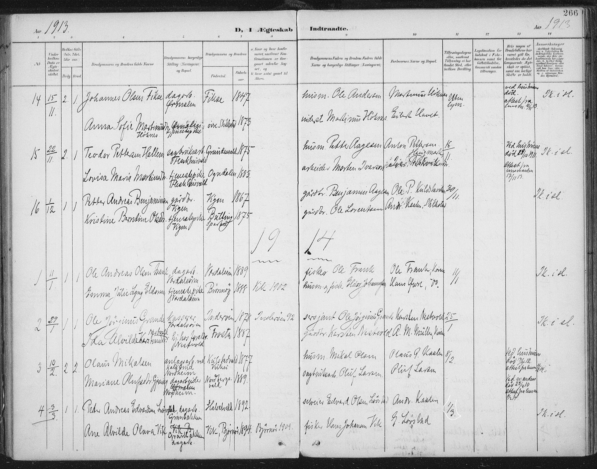 SAT, Ministerialprotokoller, klokkerbøker og fødselsregistre - Nord-Trøndelag, 723/L0246: Ministerialbok nr. 723A15, 1900-1917, s. 266