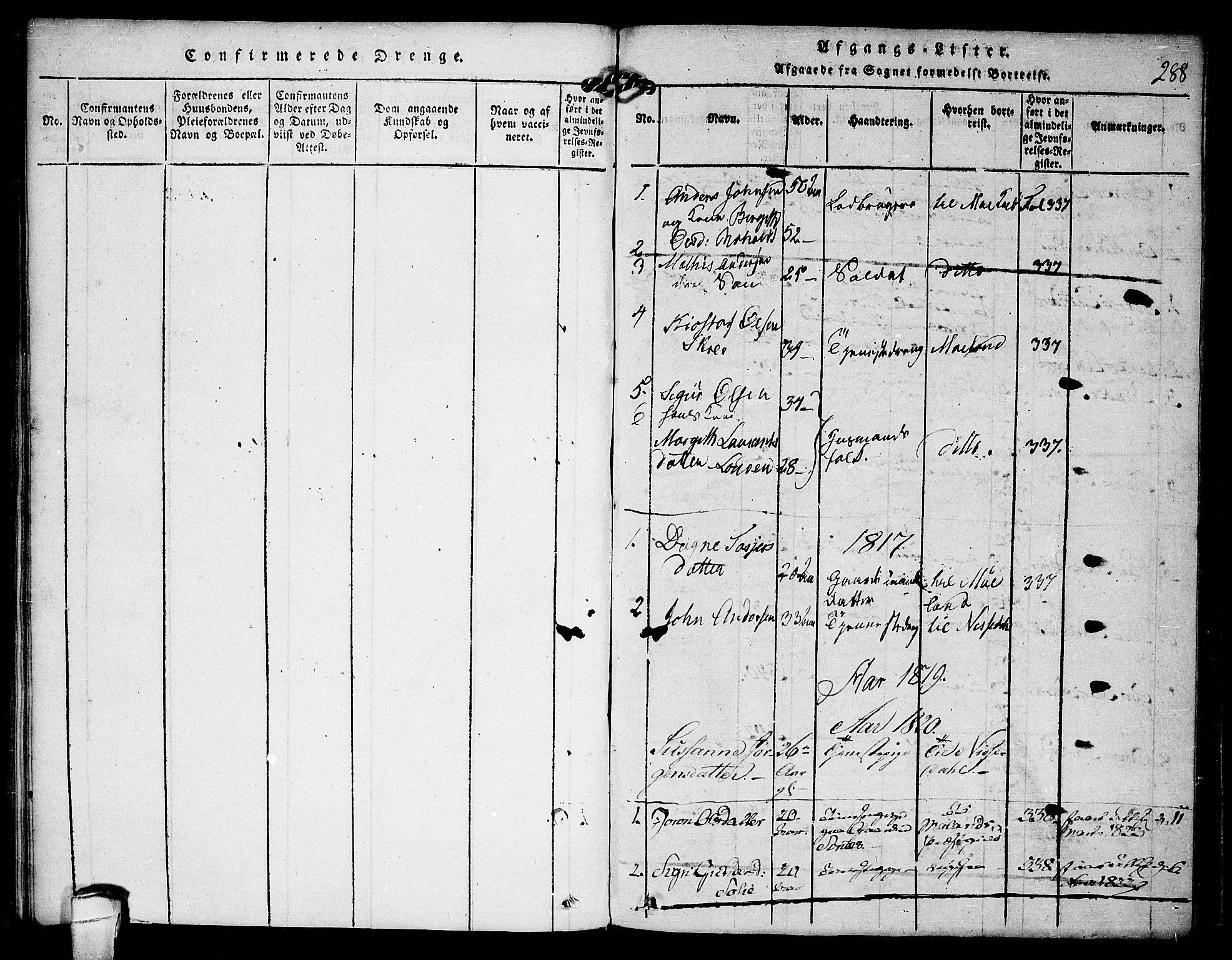 SAKO, Kviteseid kirkebøker, F/Fc/L0001: Ministerialbok nr. III 1, 1815-1836, s. 288