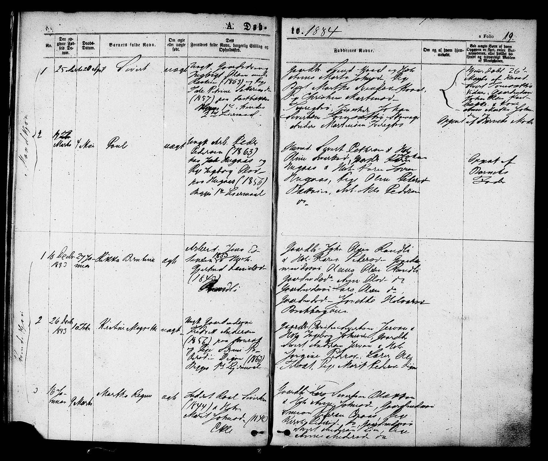 SAT, Ministerialprotokoller, klokkerbøker og fødselsregistre - Sør-Trøndelag, 608/L0334: Ministerialbok nr. 608A03, 1877-1886, s. 19