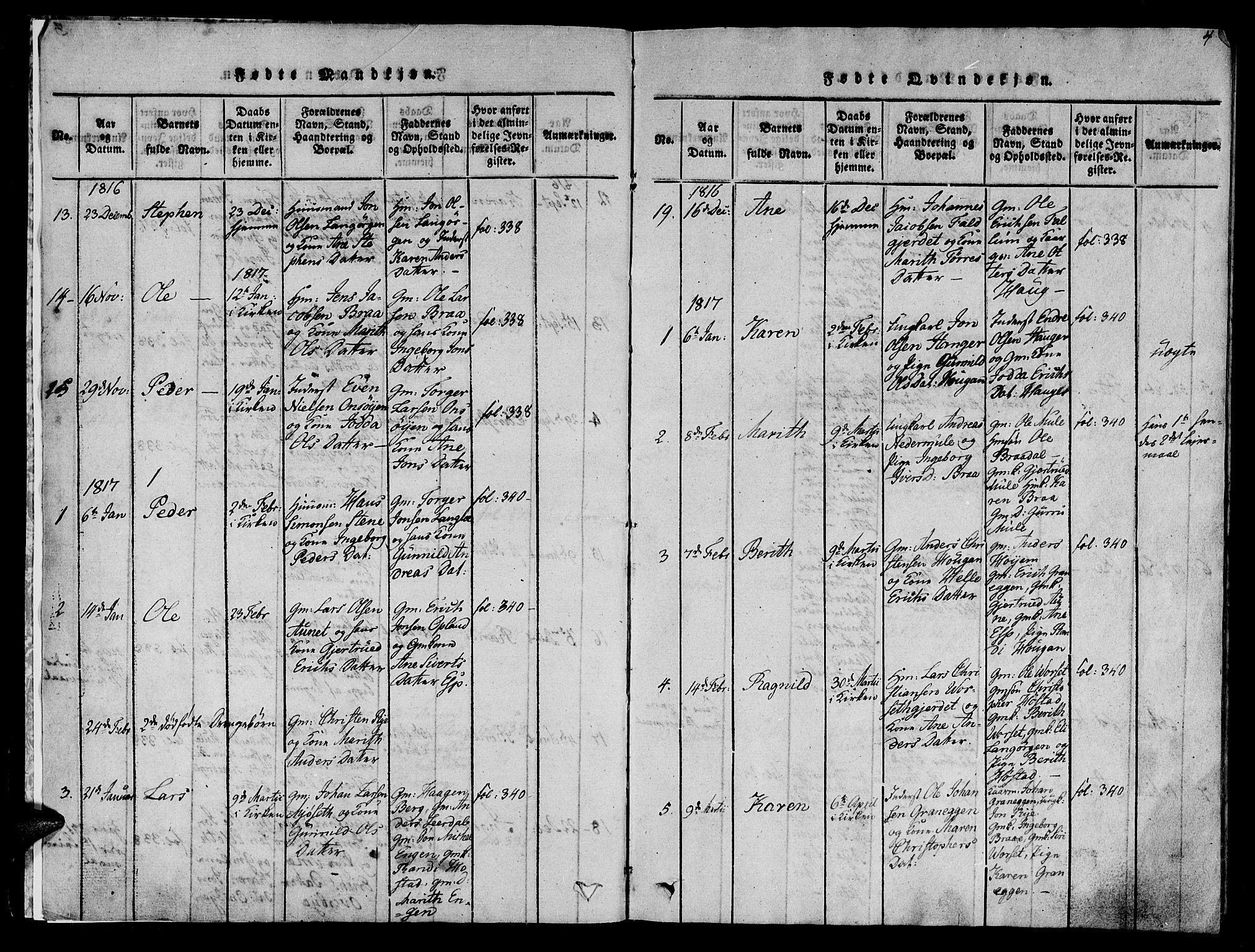 SAT, Ministerialprotokoller, klokkerbøker og fødselsregistre - Sør-Trøndelag, 612/L0372: Ministerialbok nr. 612A06 /1, 1816-1828, s. 4