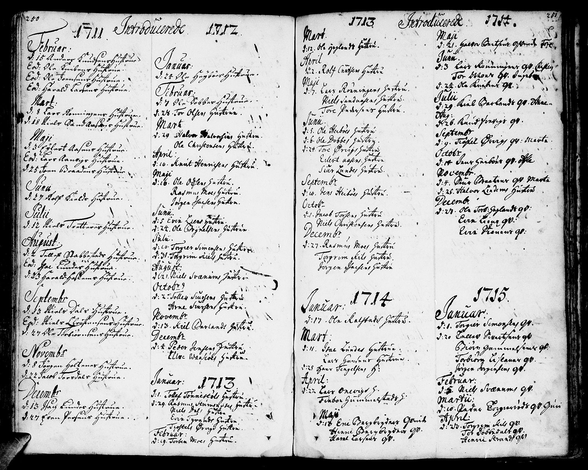 SAKO, Sannidal kirkebøker, F/Fa/L0001: Ministerialbok nr. 1, 1702-1766, s. 250-251