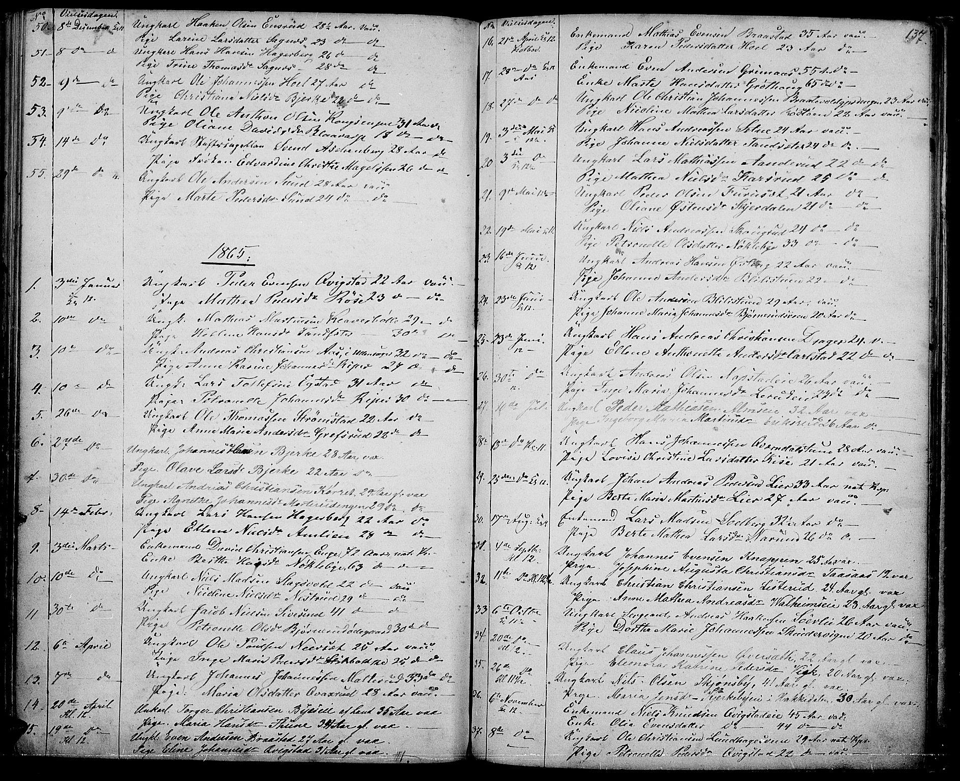SAH, Vestre Toten prestekontor, H/Ha/Hab/L0005: Klokkerbok nr. 5, 1854-1870, s. 137
