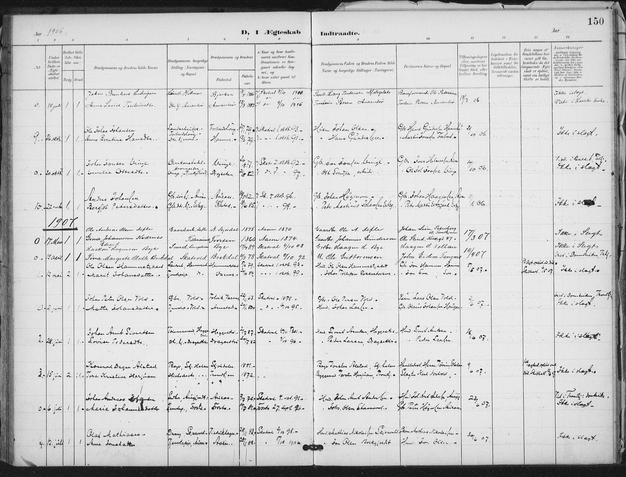 SAT, Ministerialprotokoller, klokkerbøker og fødselsregistre - Nord-Trøndelag, 712/L0101: Ministerialbok nr. 712A02, 1901-1916, s. 150