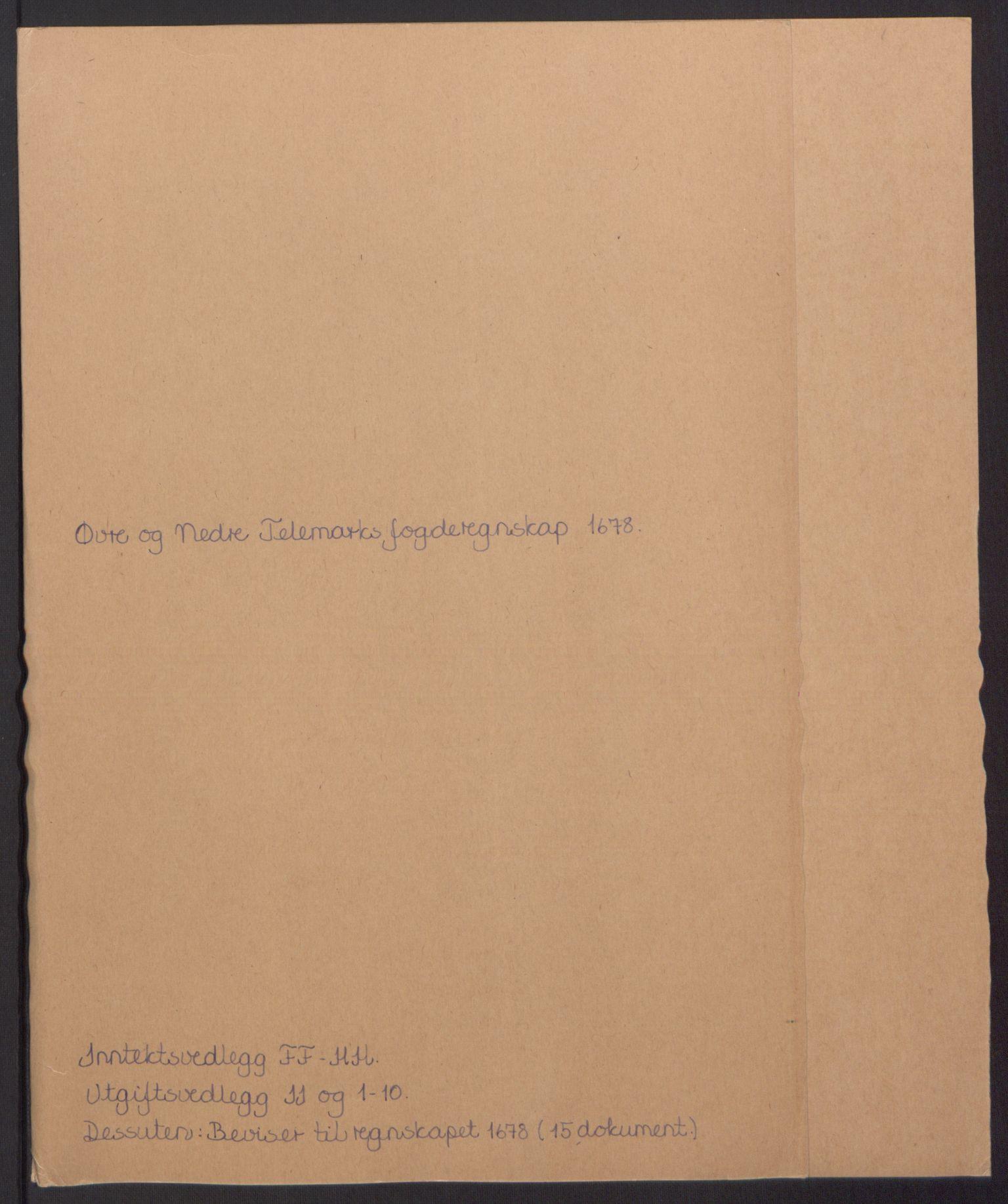 RA, Rentekammeret inntil 1814, Reviderte regnskaper, Fogderegnskap, R35/L2071: Fogderegnskap Øvre og Nedre Telemark, 1678, s. 2