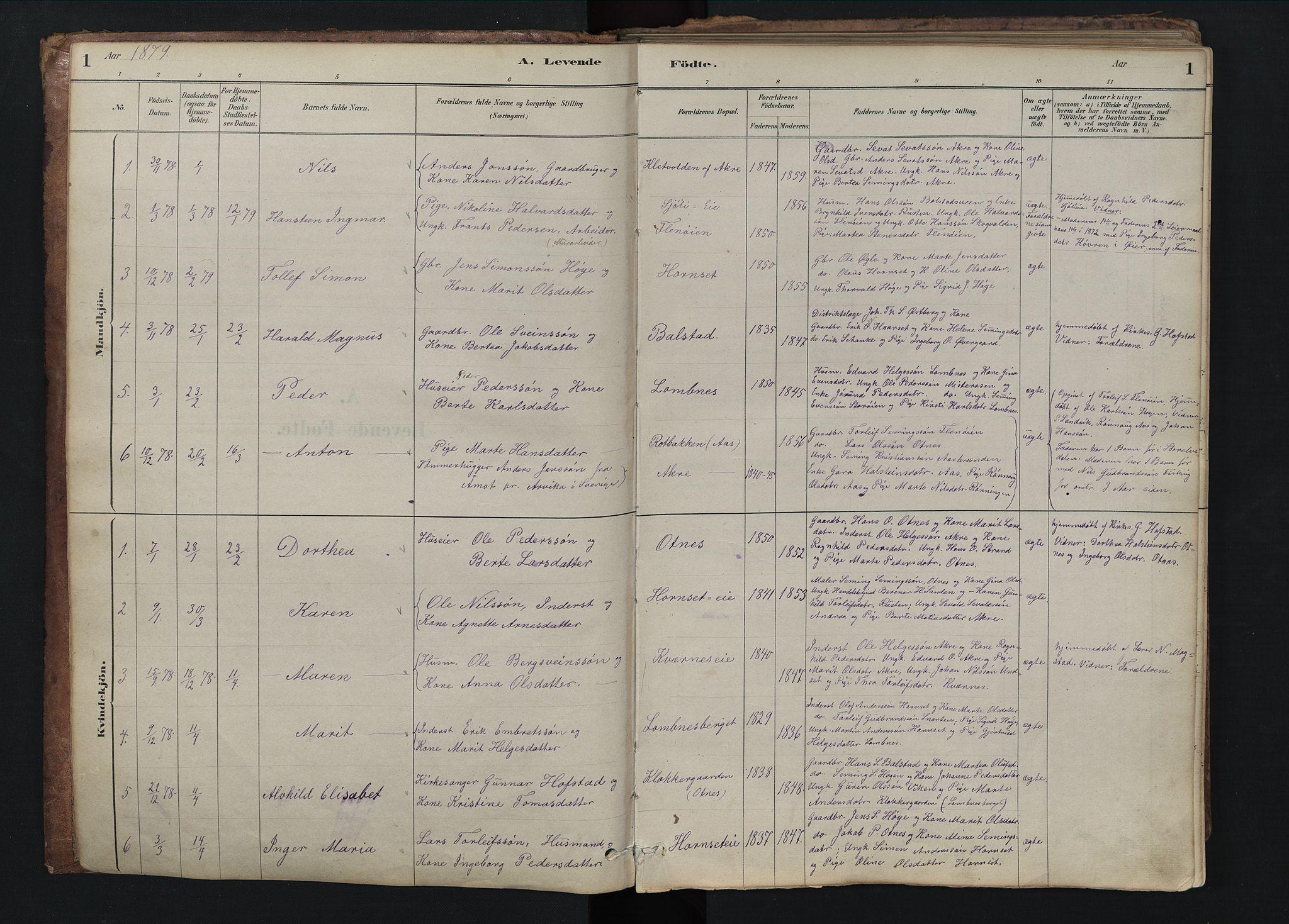 SAH, Rendalen prestekontor, H/Ha/Hab/L0009: Klokkerbok nr. 9, 1879-1902, s. 1