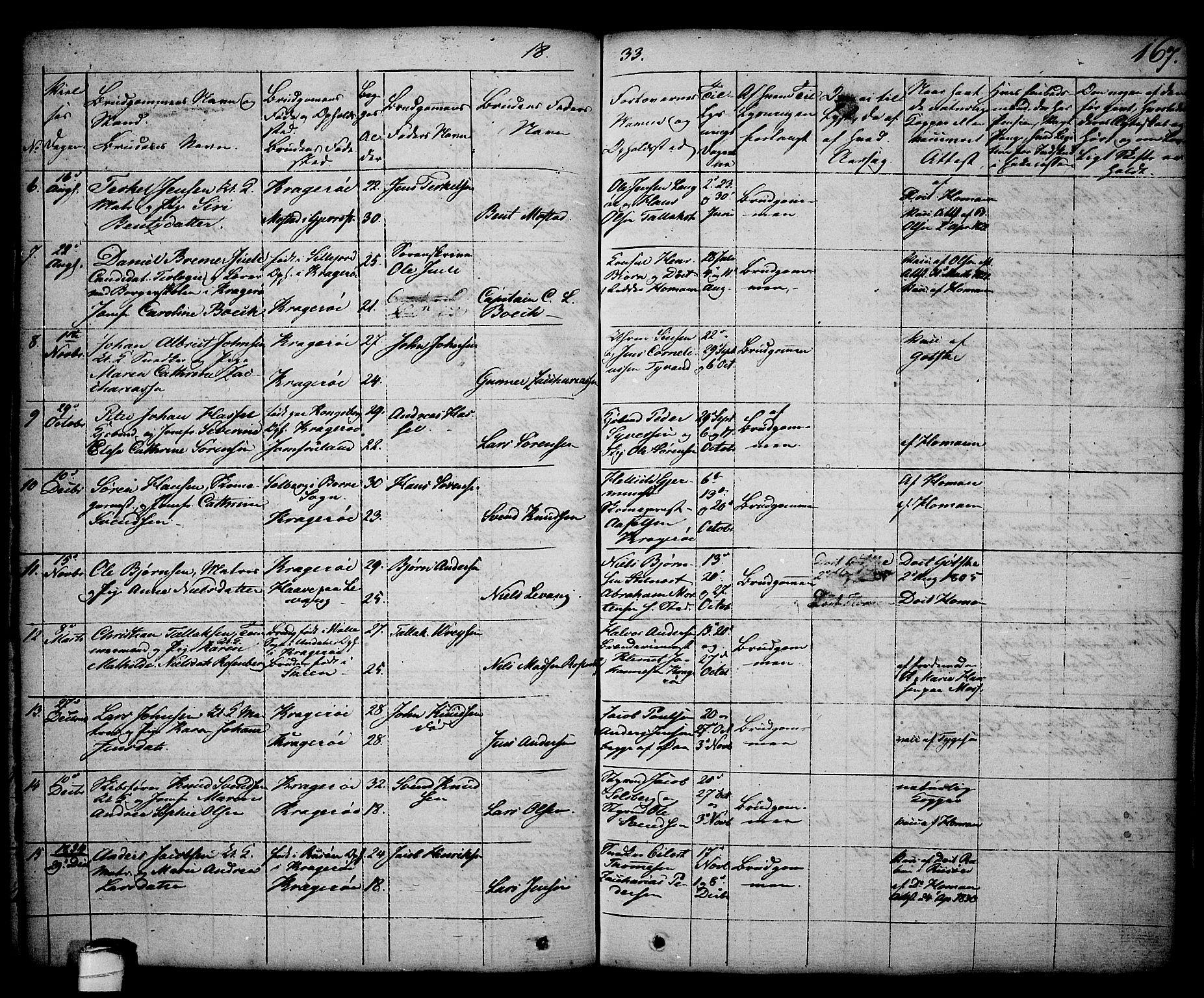 SAKO, Kragerø kirkebøker, G/Ga/L0003: Klokkerbok nr. 3, 1832-1852, s. 167