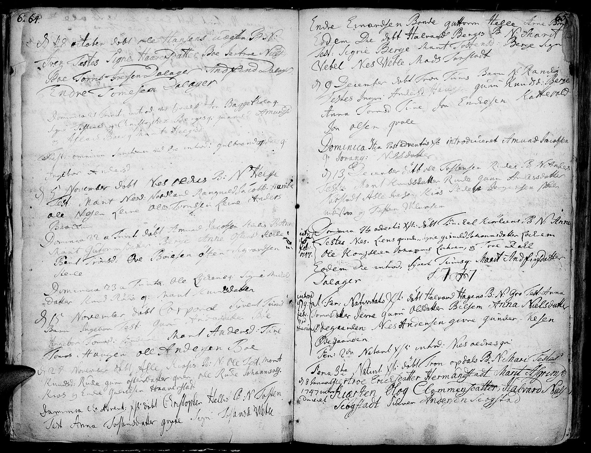 SAH, Vang prestekontor, Valdres, Ministerialbok nr. 1, 1730-1796, s. 64-65