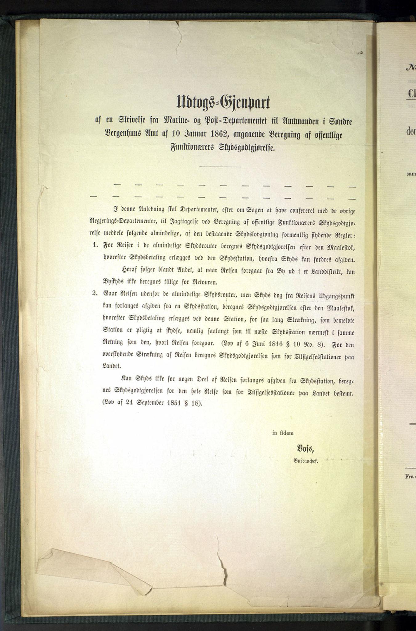 NOPO, Norges Postmuseums bibliotek, -/-: Sirkulærer fra Den Kongelige Norske Regjerings Marine- og Postdepartement, 1862