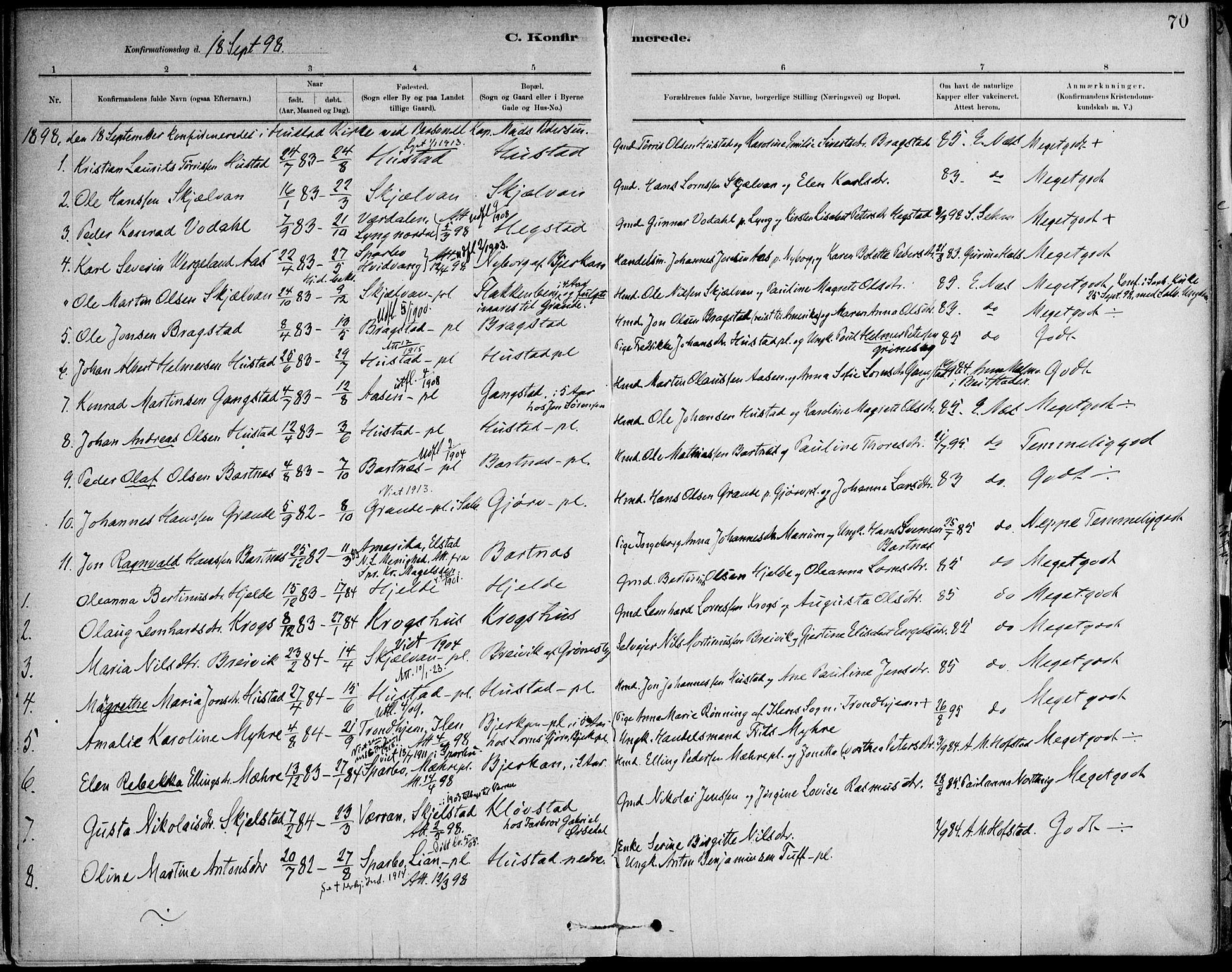 SAT, Ministerialprotokoller, klokkerbøker og fødselsregistre - Nord-Trøndelag, 732/L0316: Ministerialbok nr. 732A01, 1879-1921, s. 70