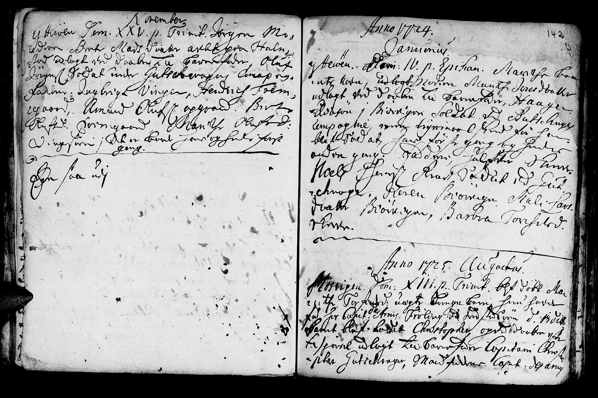 SAT, Ministerialprotokoller, klokkerbøker og fødselsregistre - Nord-Trøndelag, 722/L0215: Ministerialbok nr. 722A02, 1718-1755, s. 142