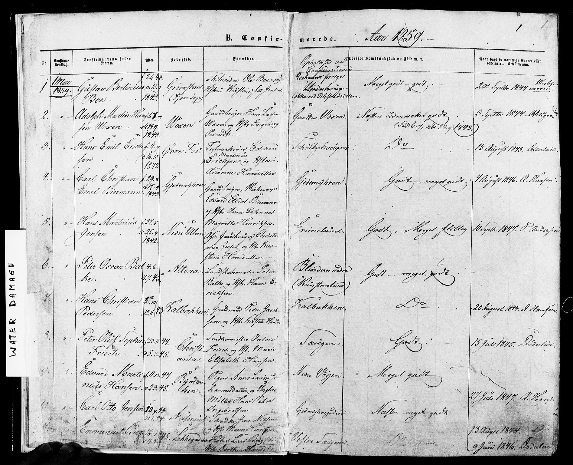 SAO, Vestre Aker prestekontor Kirkebøker, F/Fa/L0005: Ministerialbok nr. 5, 1859-1877, s. 1