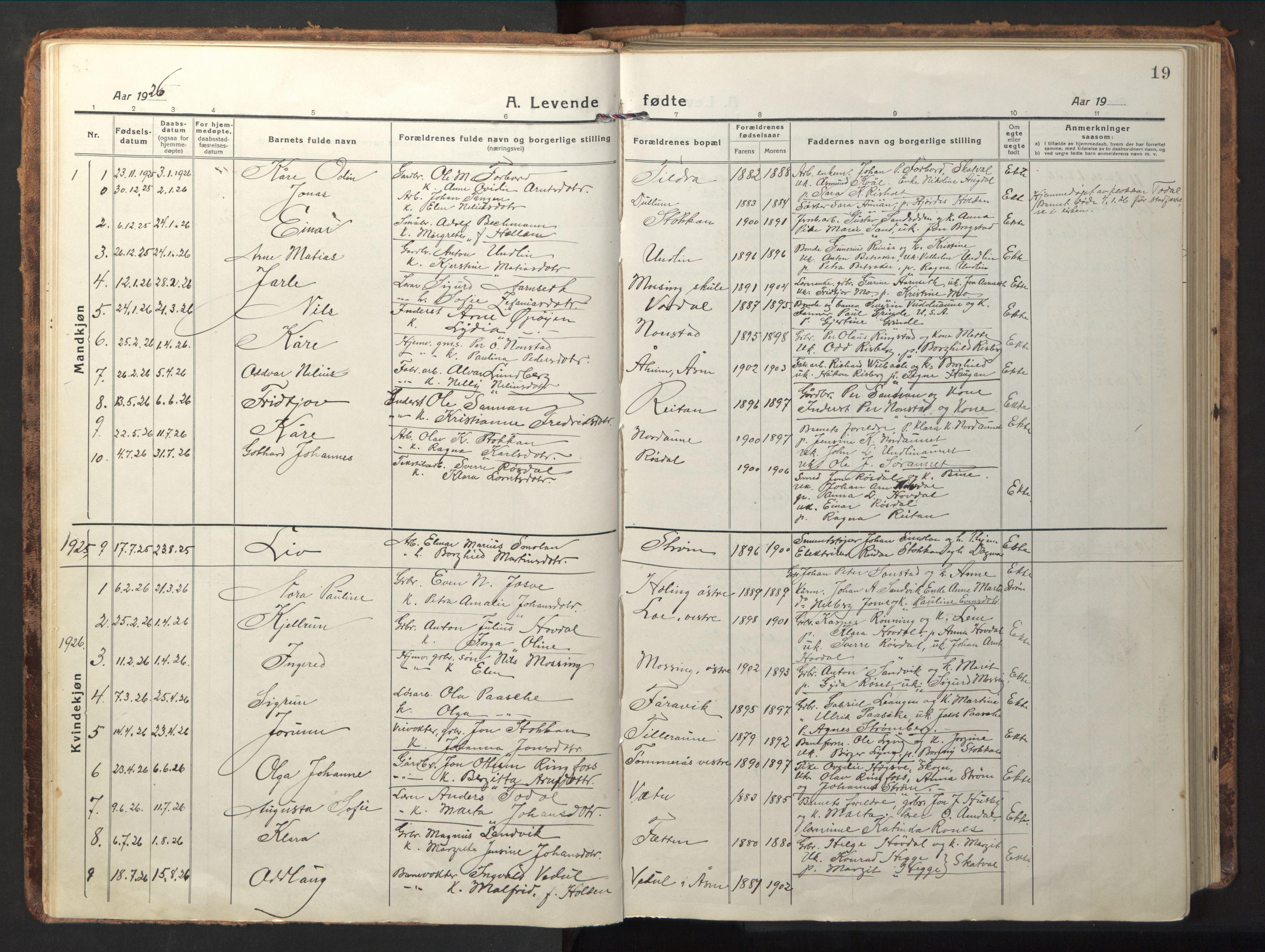 SAT, Ministerialprotokoller, klokkerbøker og fødselsregistre - Nord-Trøndelag, 714/L0136: Klokkerbok nr. 714C05, 1918-1957, s. 19