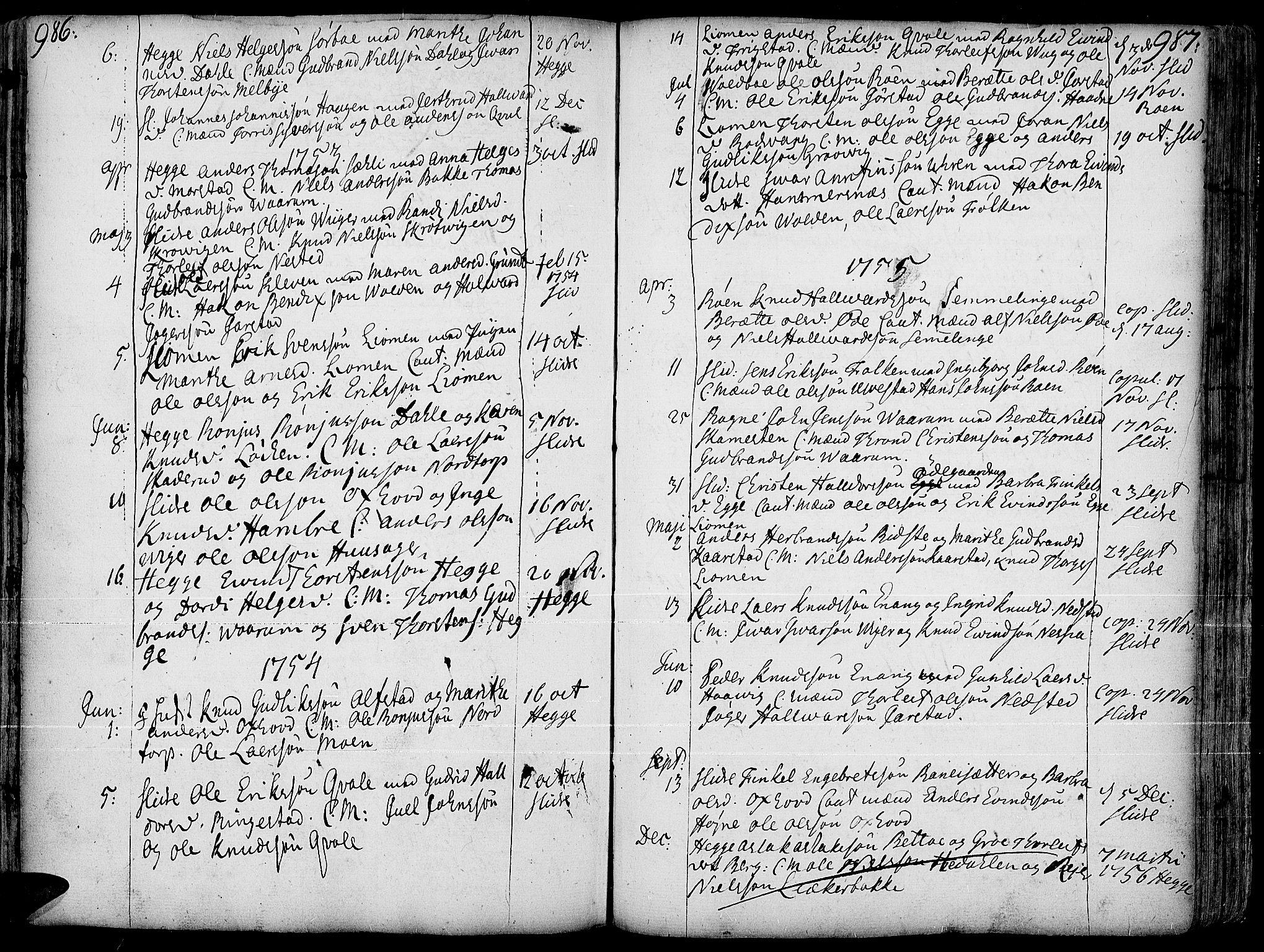 SAH, Slidre prestekontor, Ministerialbok nr. 1, 1724-1814, s. 986-987