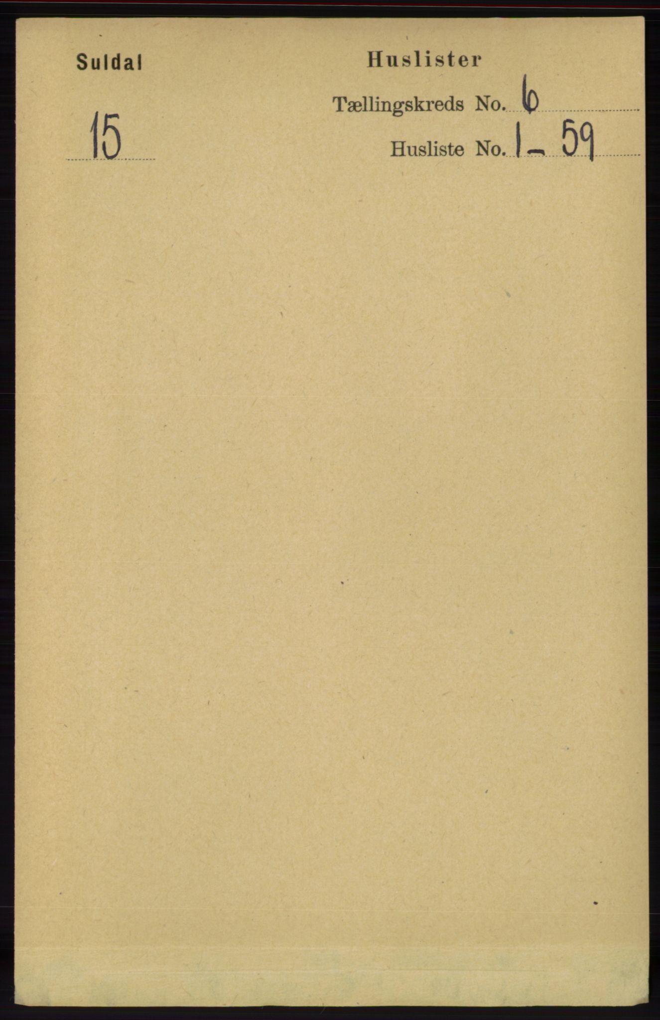 RA, Folketelling 1891 for 1134 Suldal herred, 1891, s. 1533