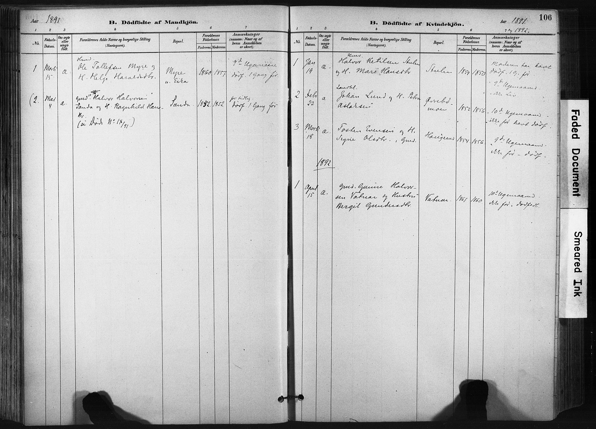 SAKO, Bø kirkebøker, F/Fa/L0010: Ministerialbok nr. 10, 1880-1892, s. 106
