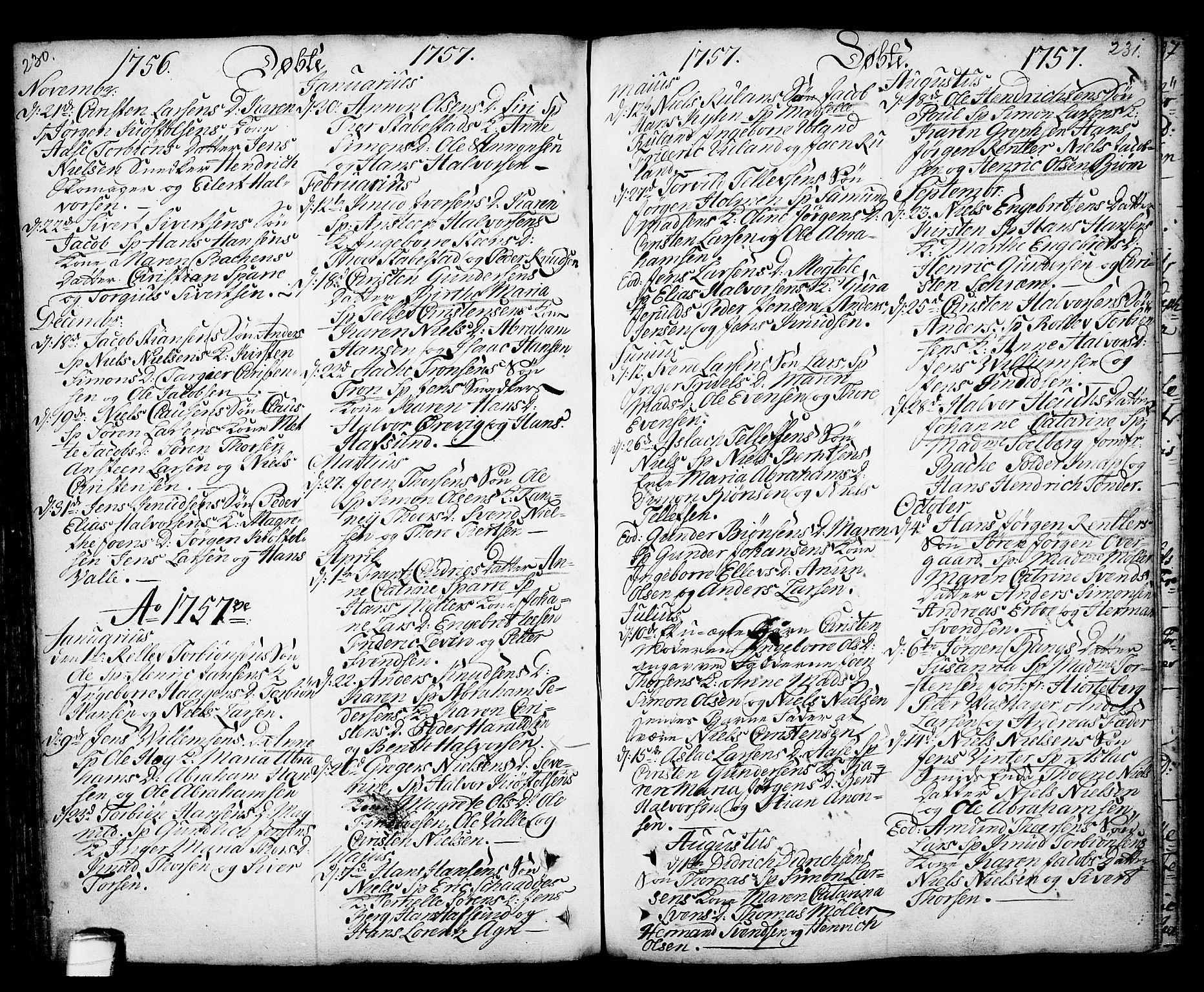 SAKO, Kragerø kirkebøker, F/Fa/L0001: Ministerialbok nr. 1, 1702-1766, s. 230-231