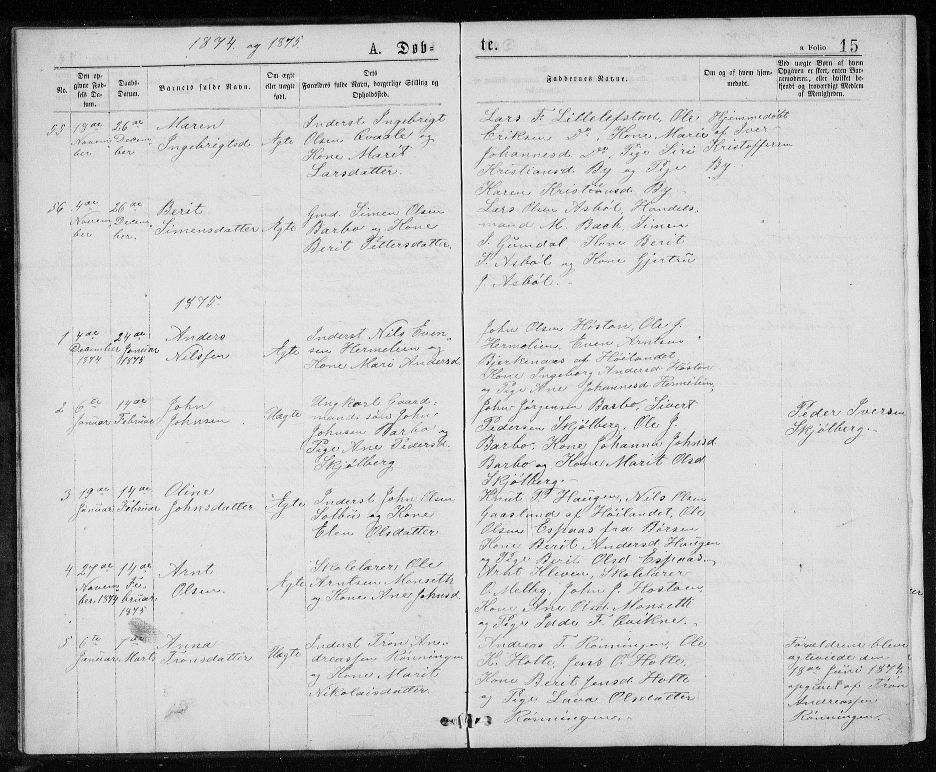 SAT, Ministerialprotokoller, klokkerbøker og fødselsregistre - Sør-Trøndelag, 671/L0843: Klokkerbok nr. 671C02, 1873-1892, s. 15