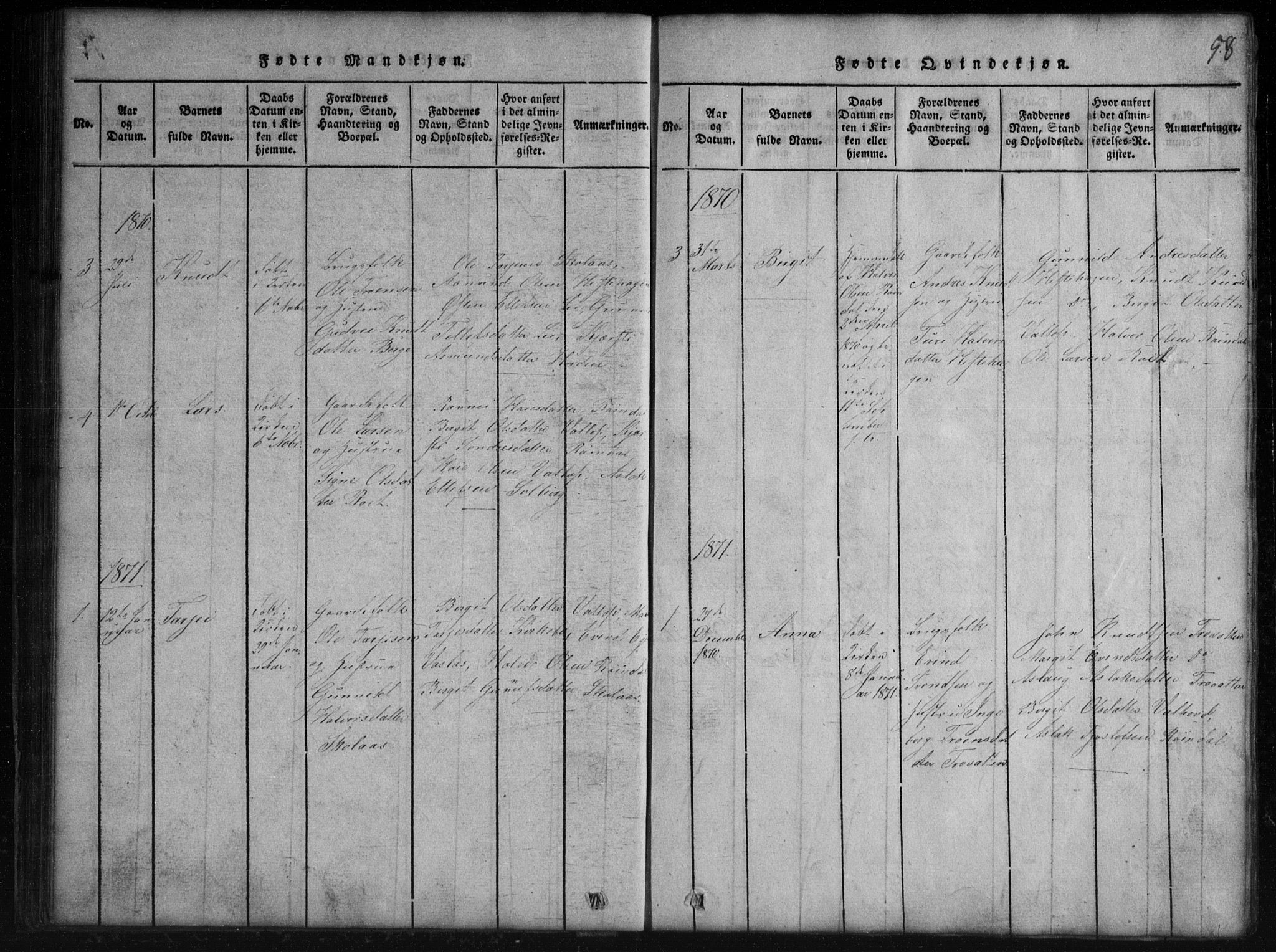 SAKO, Rauland kirkebøker, G/Gb/L0001: Klokkerbok nr. II 1, 1815-1886, s. 58