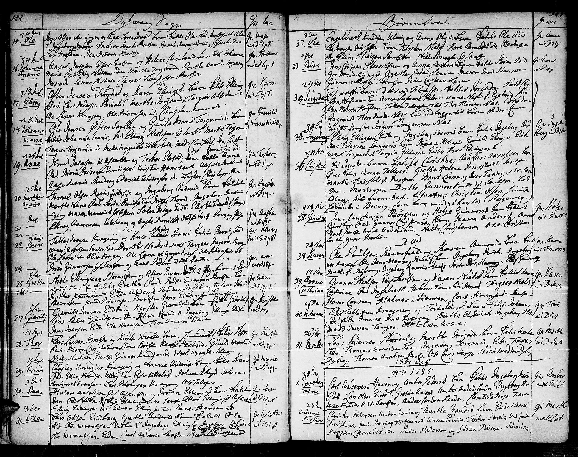 SAK, Dypvåg sokneprestkontor, F/Fa/Faa/L0001: Ministerialbok nr. A 1 /1, 1765-1798, s. 542-543