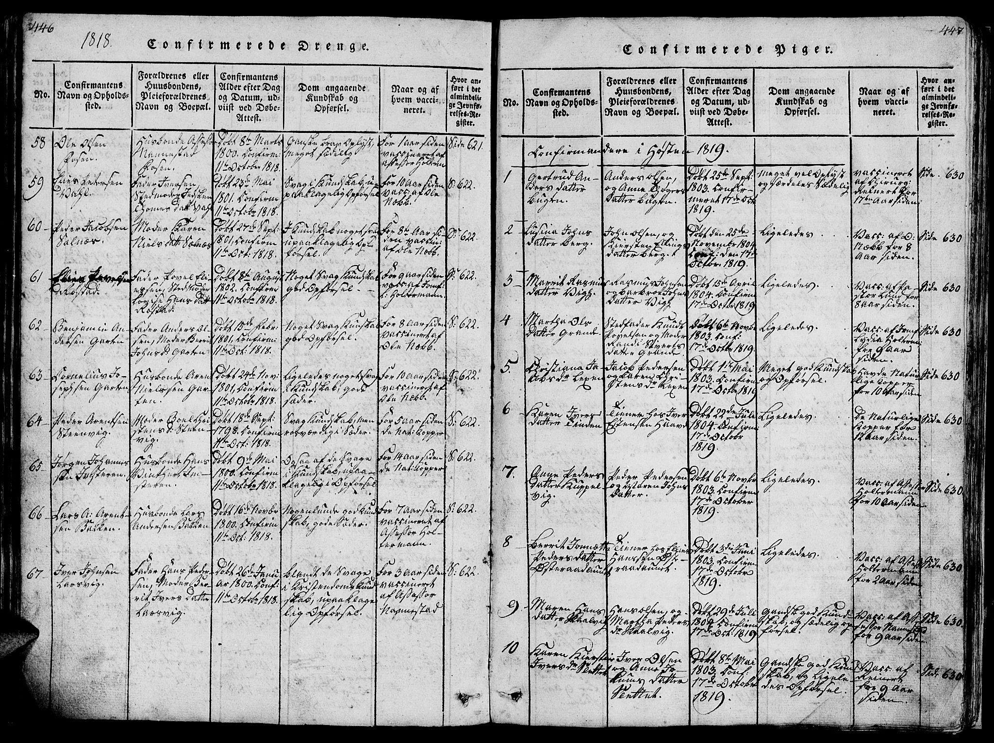 SAT, Ministerialprotokoller, klokkerbøker og fødselsregistre - Sør-Trøndelag, 659/L0744: Klokkerbok nr. 659C01, 1818-1825, s. 446-447