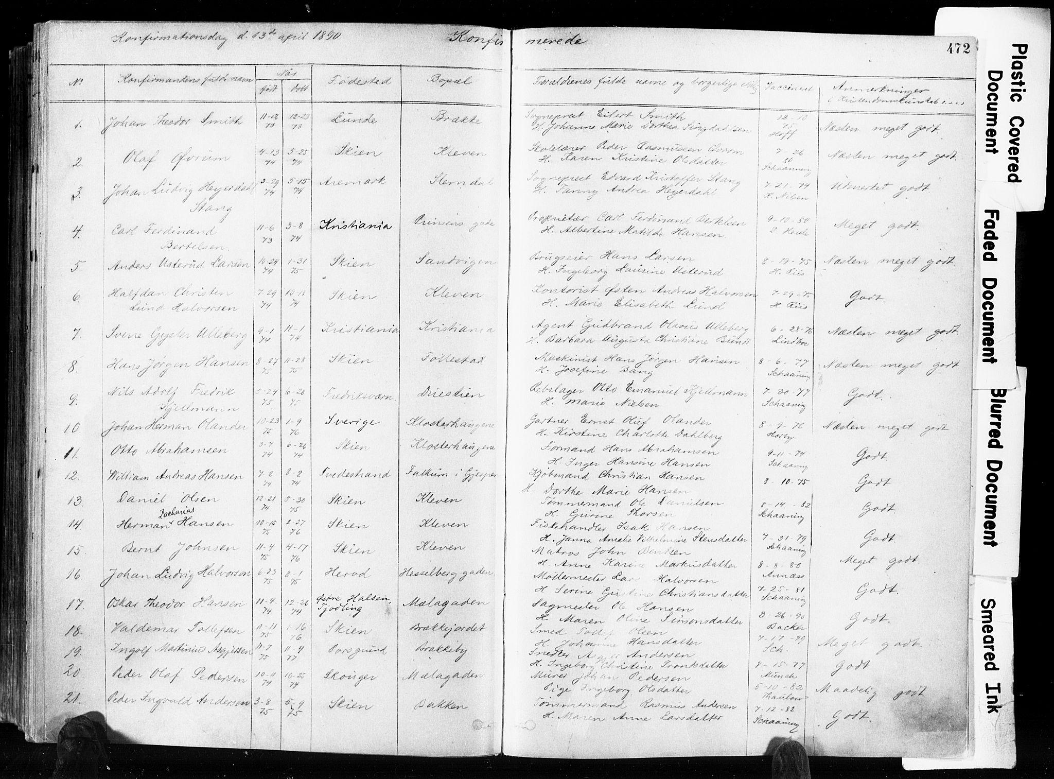 SAKO, Skien kirkebøker, F/Fa/L0009: Ministerialbok nr. 9, 1878-1890, s. 472