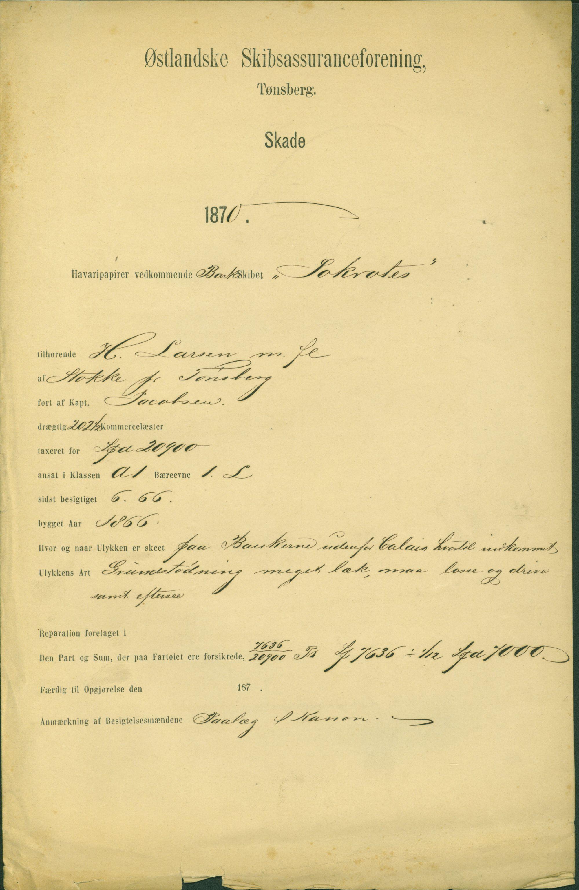 VEMU, Pa 63 - Østlandske skibsassuranceforening, G/Ga/L0002: Havaridokumenter, 1870